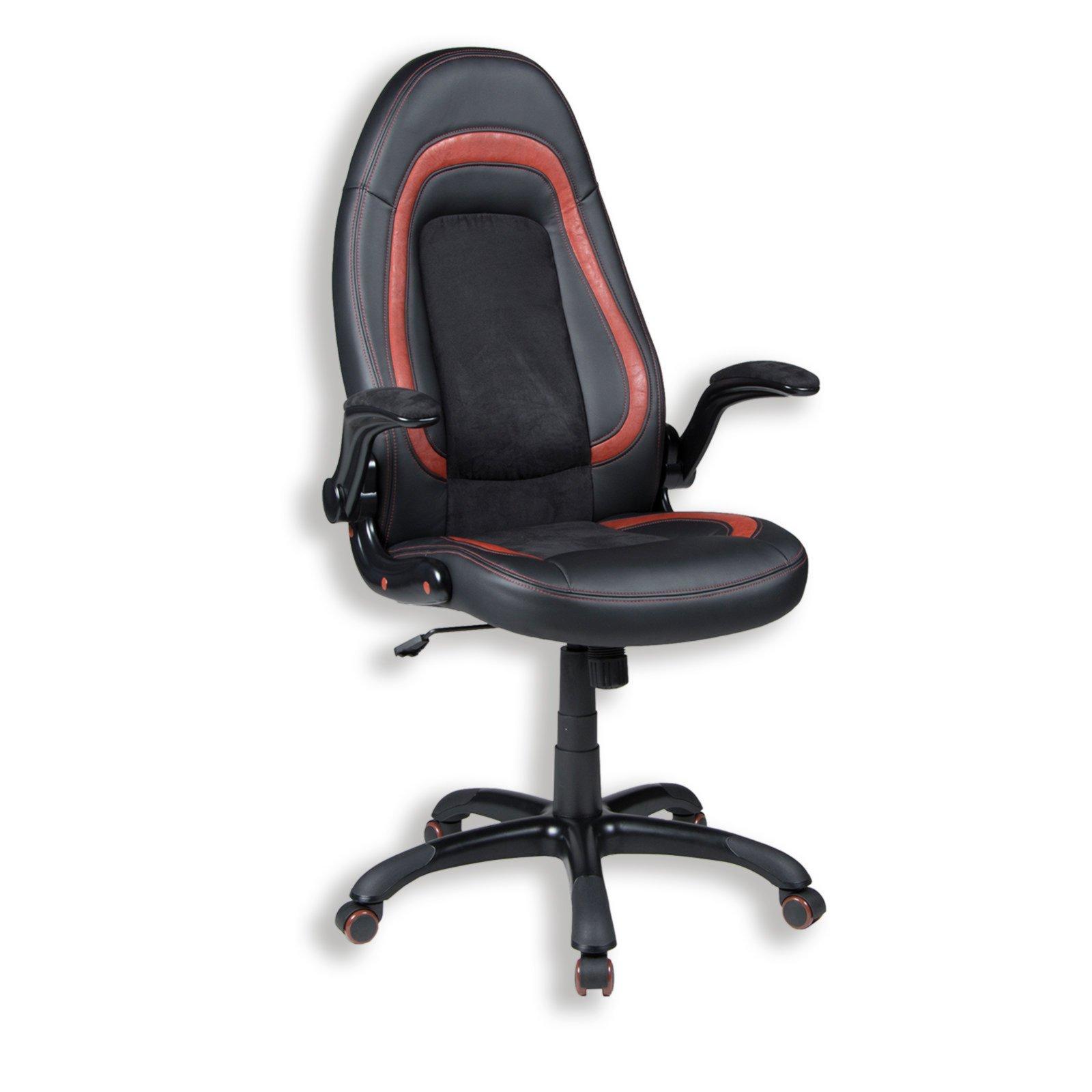 drehstuhl damian schwarz rot kunstleder b rost hle. Black Bedroom Furniture Sets. Home Design Ideas