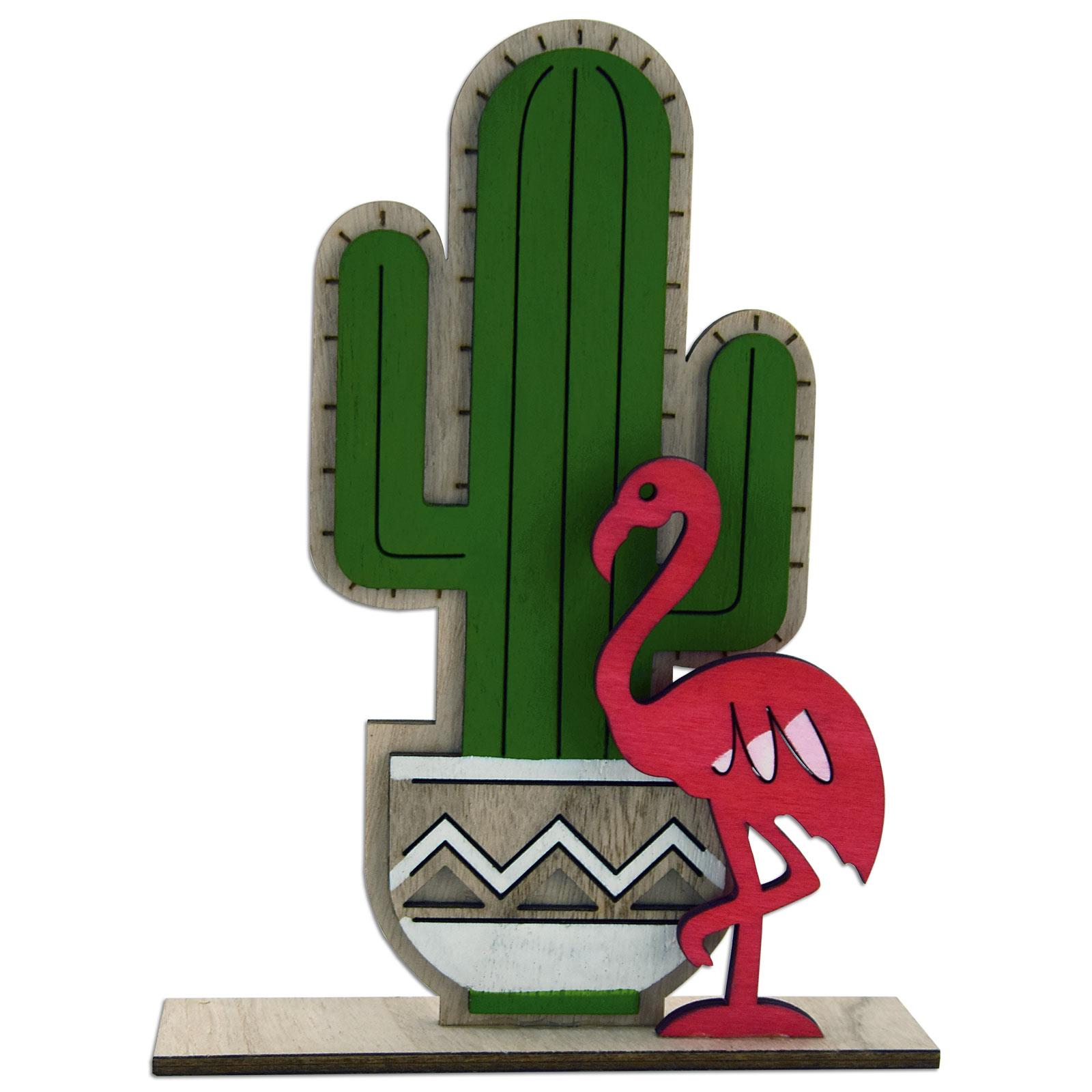 Dekofigur Kaktus mit Flamingo grün-pink 23,5 cm hoch Holz