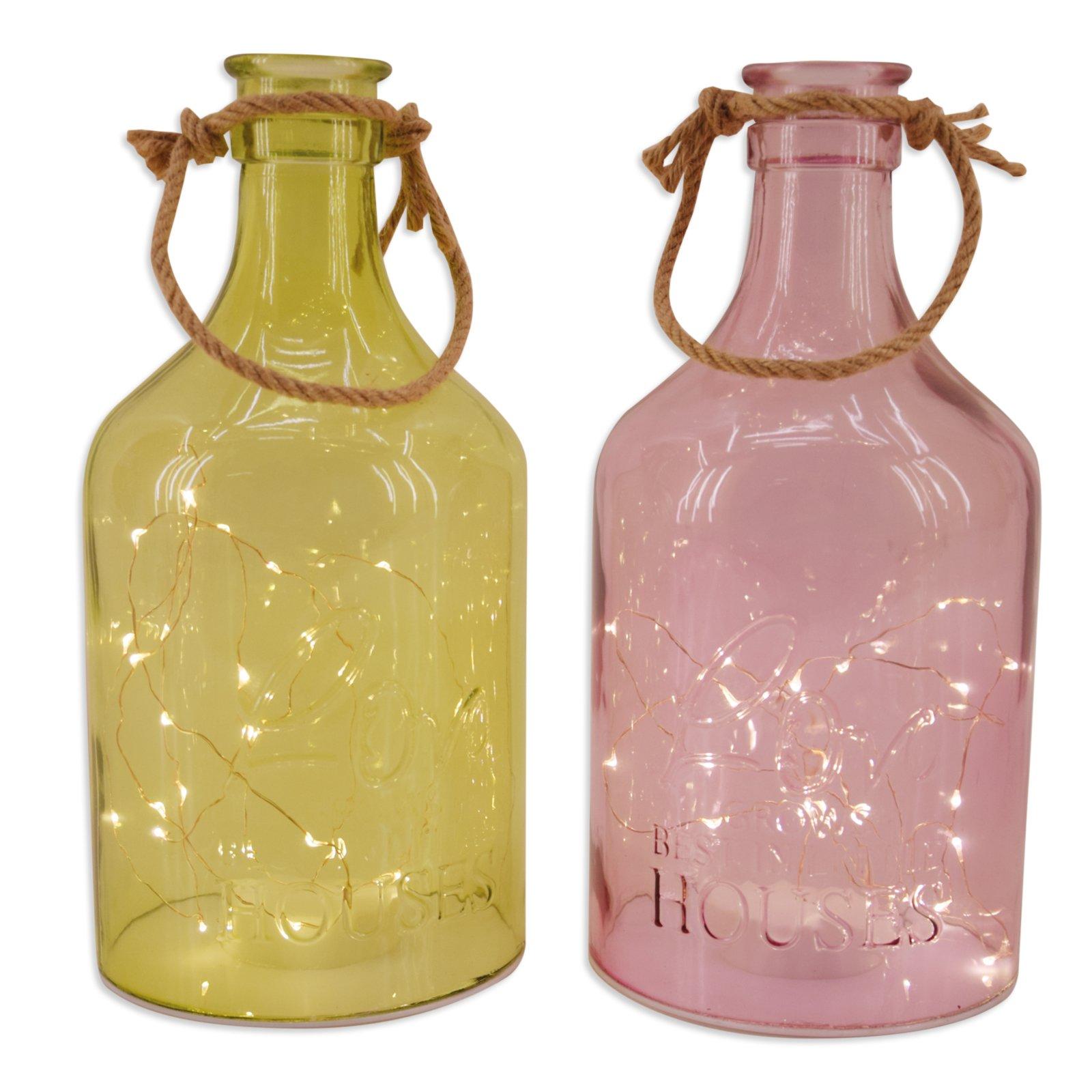 Led Flasche Sortiert Glas Gartendekoration Garten Roller