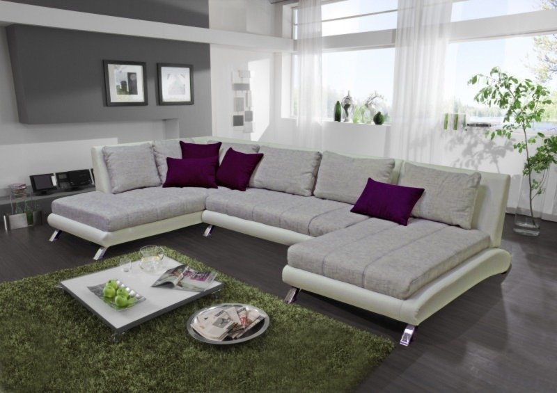 wohnlandschaft silber wei recamiere rechts. Black Bedroom Furniture Sets. Home Design Ideas