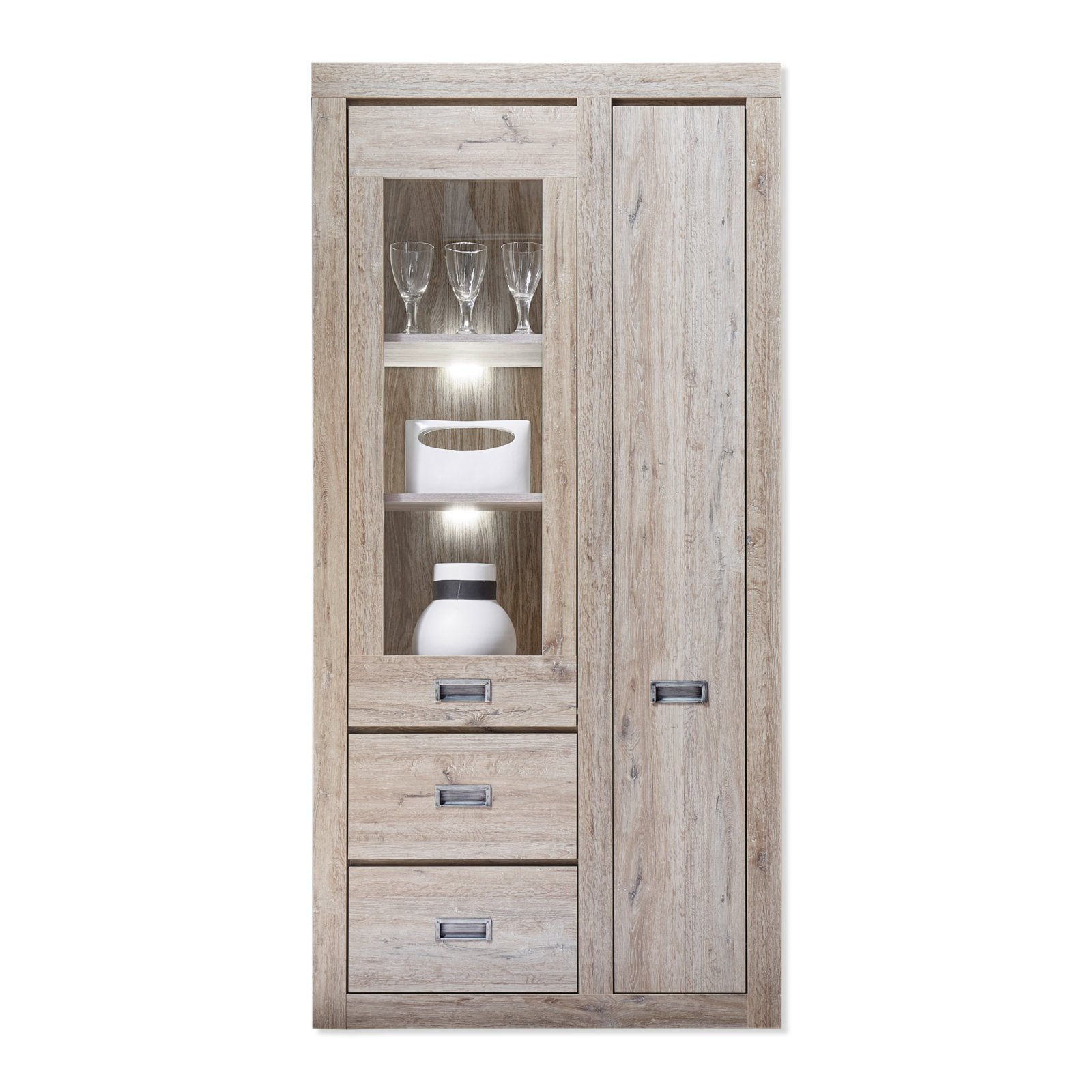 vitrine biarritz ancona oak 90 cm breit vitrinen. Black Bedroom Furniture Sets. Home Design Ideas