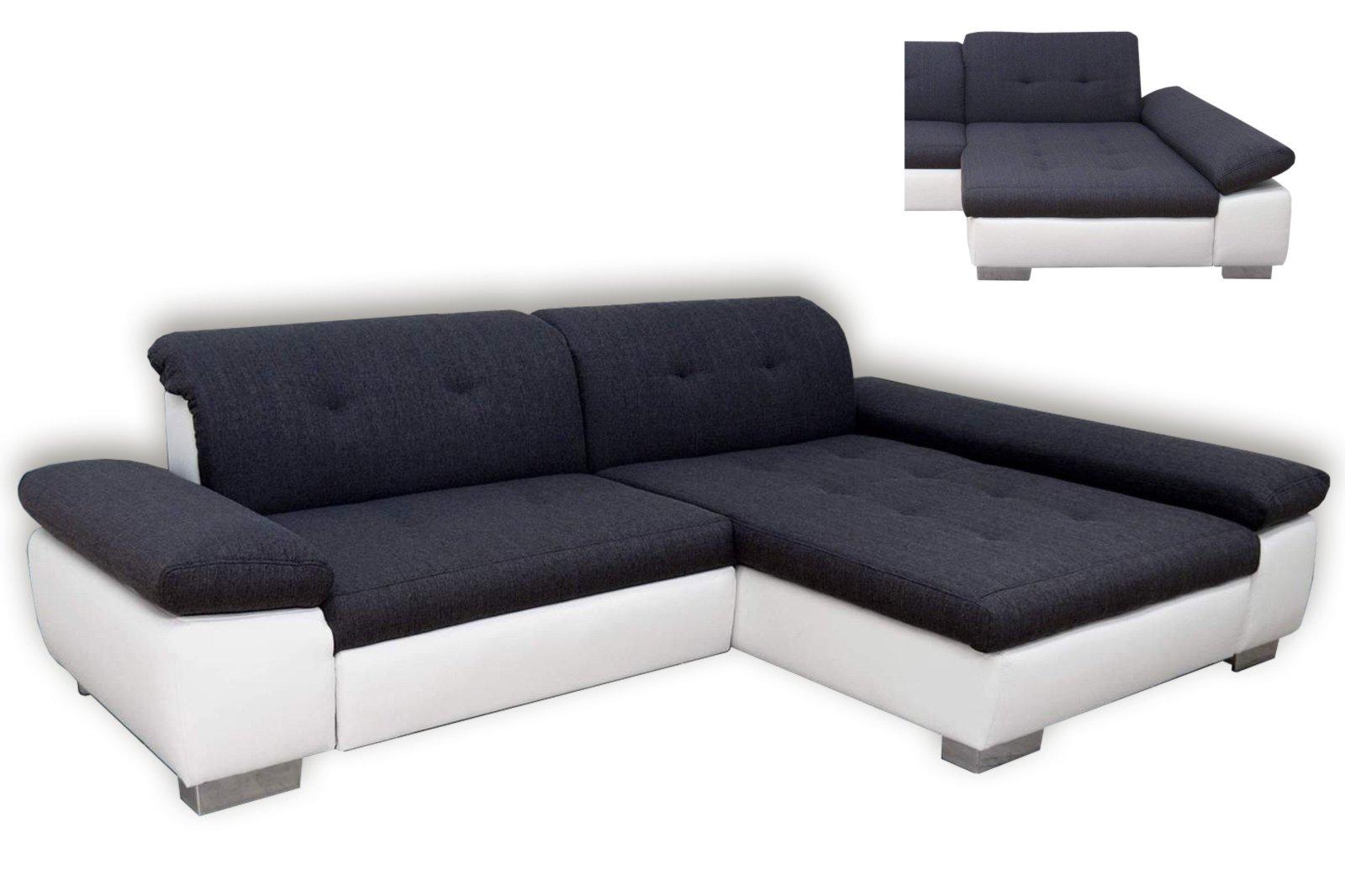 polsterecke anthrazit wei mit funktionen recamiere rechts ecksofas l form sofas. Black Bedroom Furniture Sets. Home Design Ideas