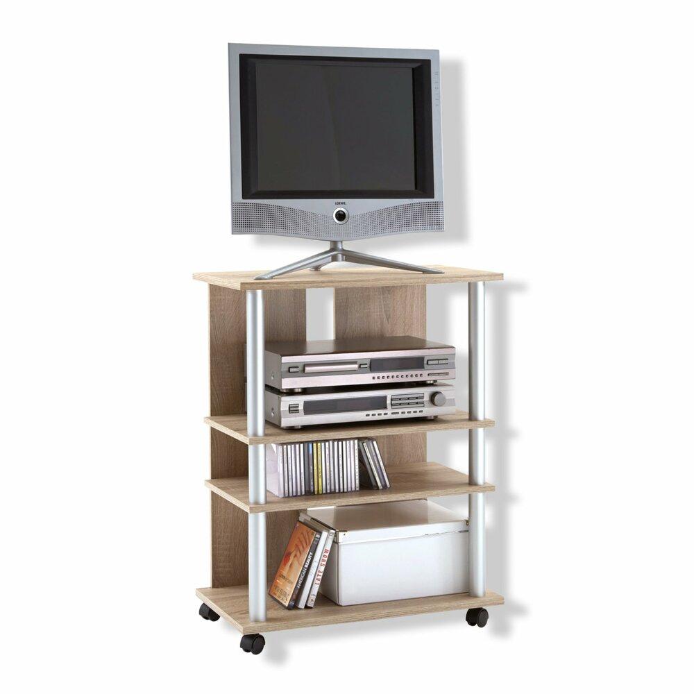 tv hifi rack variant 7 sonoma eiche mit rollen ebay. Black Bedroom Furniture Sets. Home Design Ideas