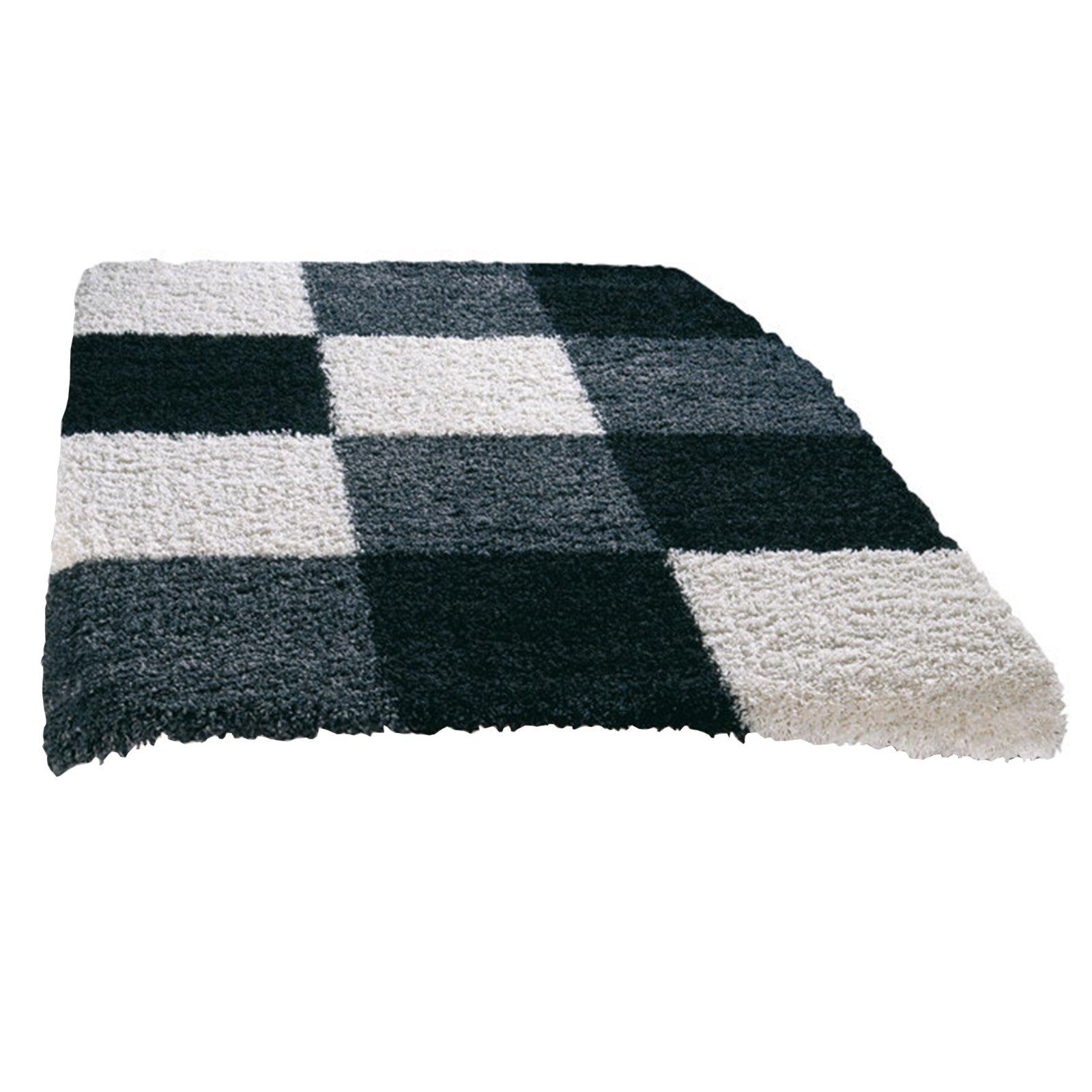 hochflor teppich shaggy plus wei schwarz 200x290 cm. Black Bedroom Furniture Sets. Home Design Ideas