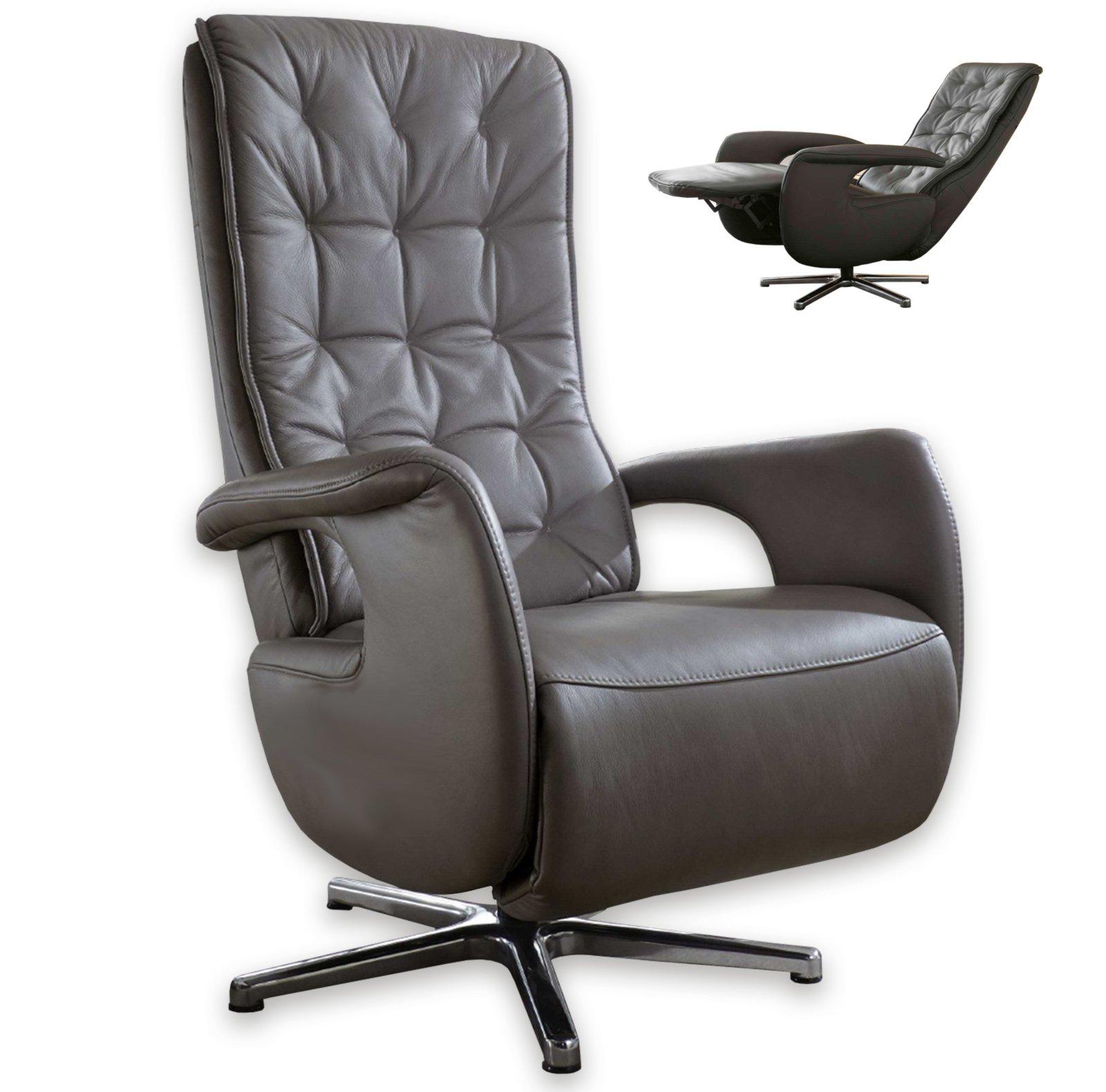 leder relaxsessel anthrazit mit funktionen. Black Bedroom Furniture Sets. Home Design Ideas