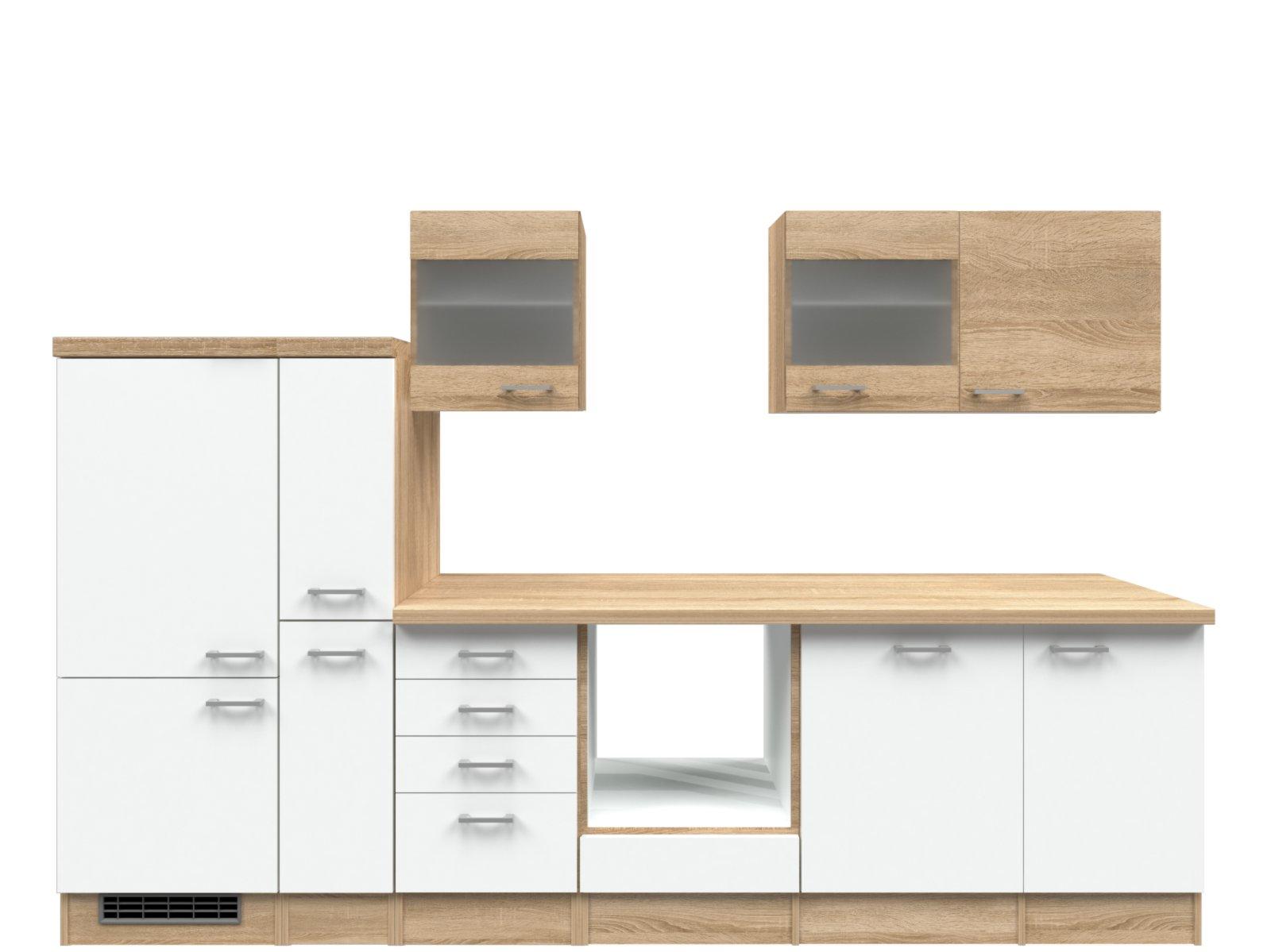 Küchenblock SAMOA - weiß-Sonoma Eiche - 310 cm