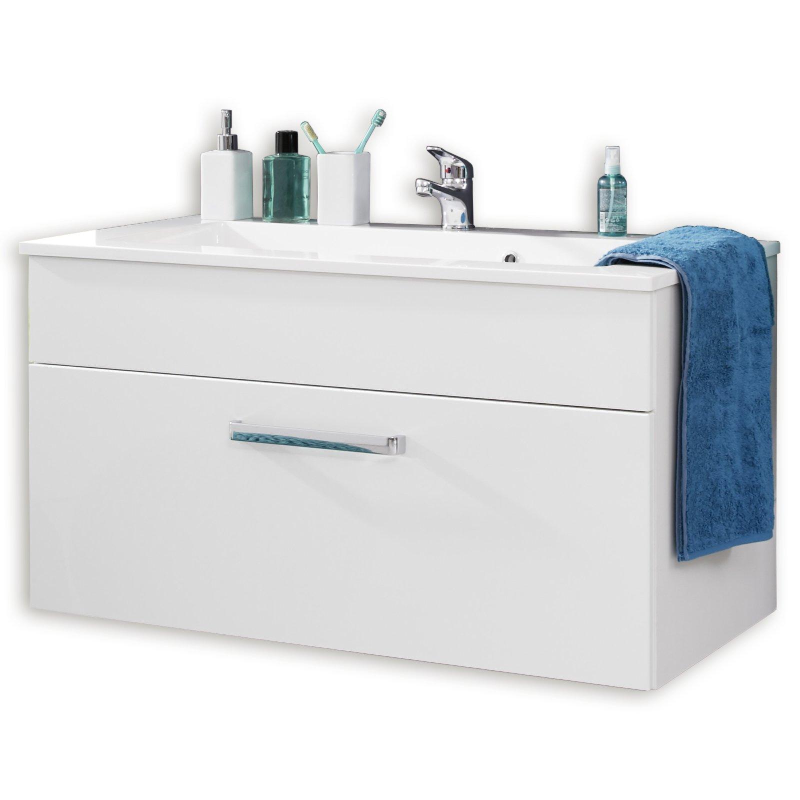 waschbeckenunterschrank adamo wei hochglanz 101 cm. Black Bedroom Furniture Sets. Home Design Ideas