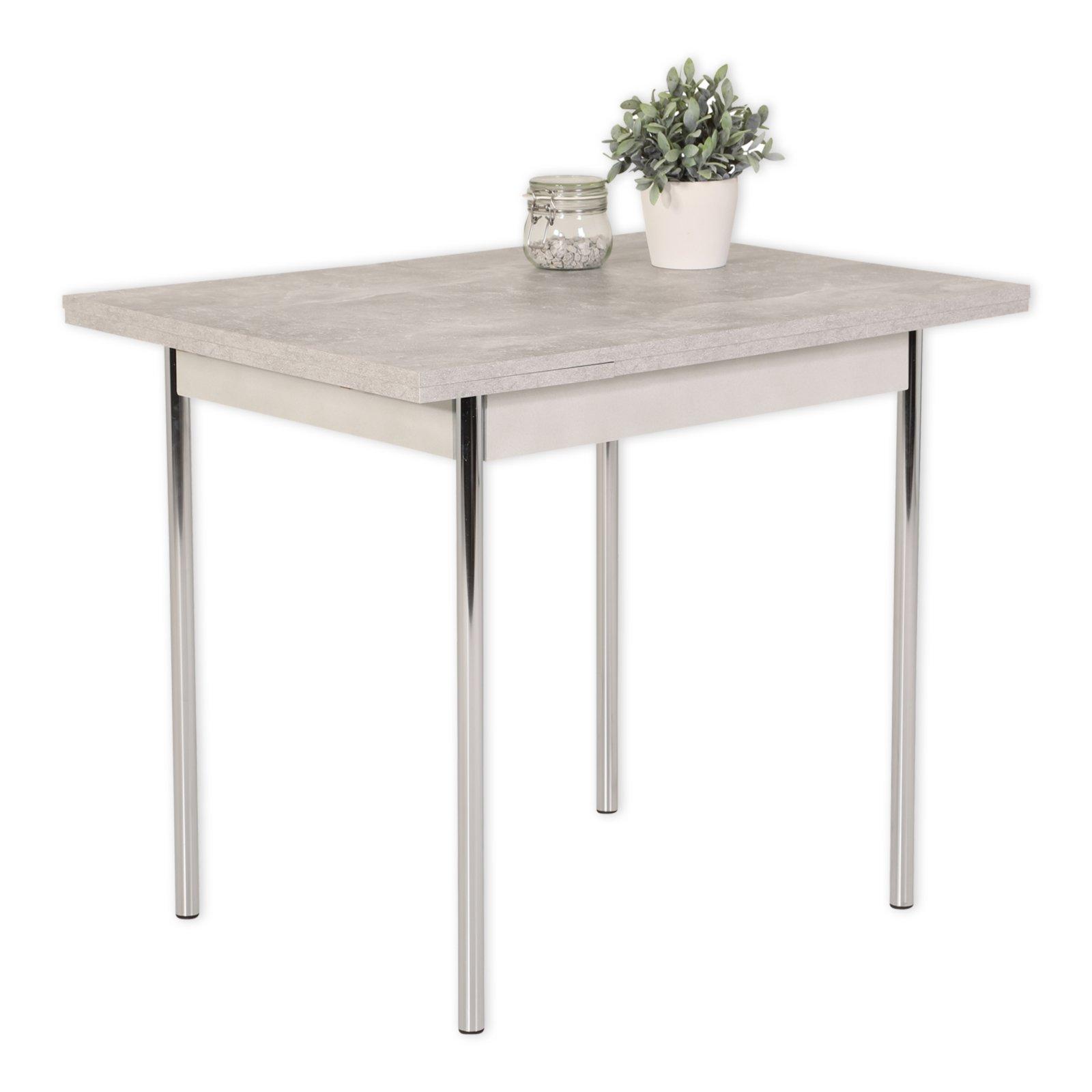 esstisch hamburg i t betonoptik chrom ausziehbar esstische sitzen essen esszimmer. Black Bedroom Furniture Sets. Home Design Ideas