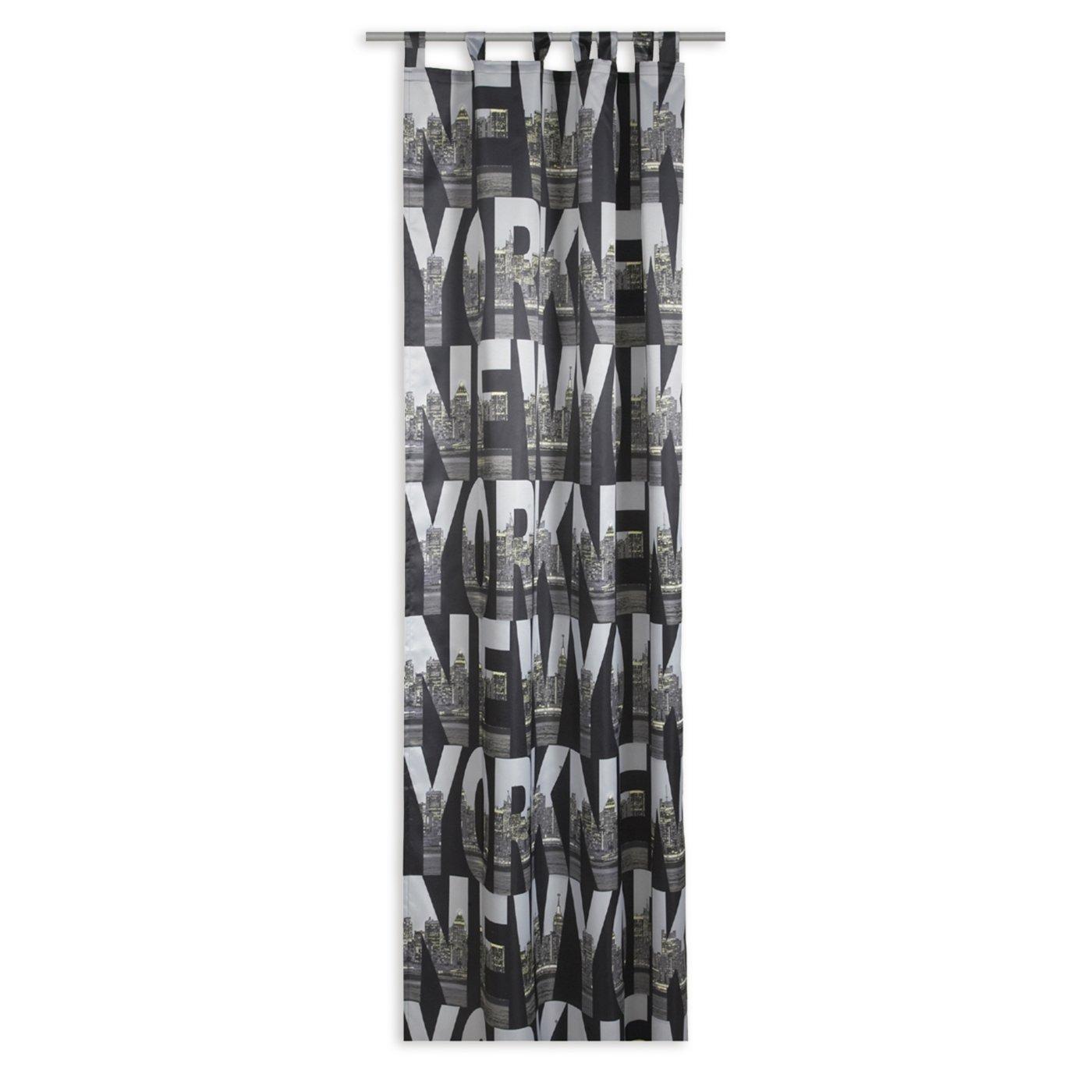 schlaufenschal new york schwarz wei 140x245 cm blickdichte gardinen vorh nge gardinen. Black Bedroom Furniture Sets. Home Design Ideas