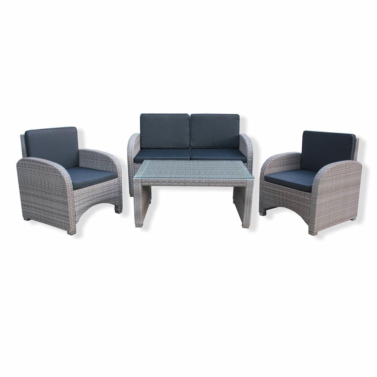 Lounge-Sitzgruppe AMARNA - beige - 4-teilig - Rattanoptik ...