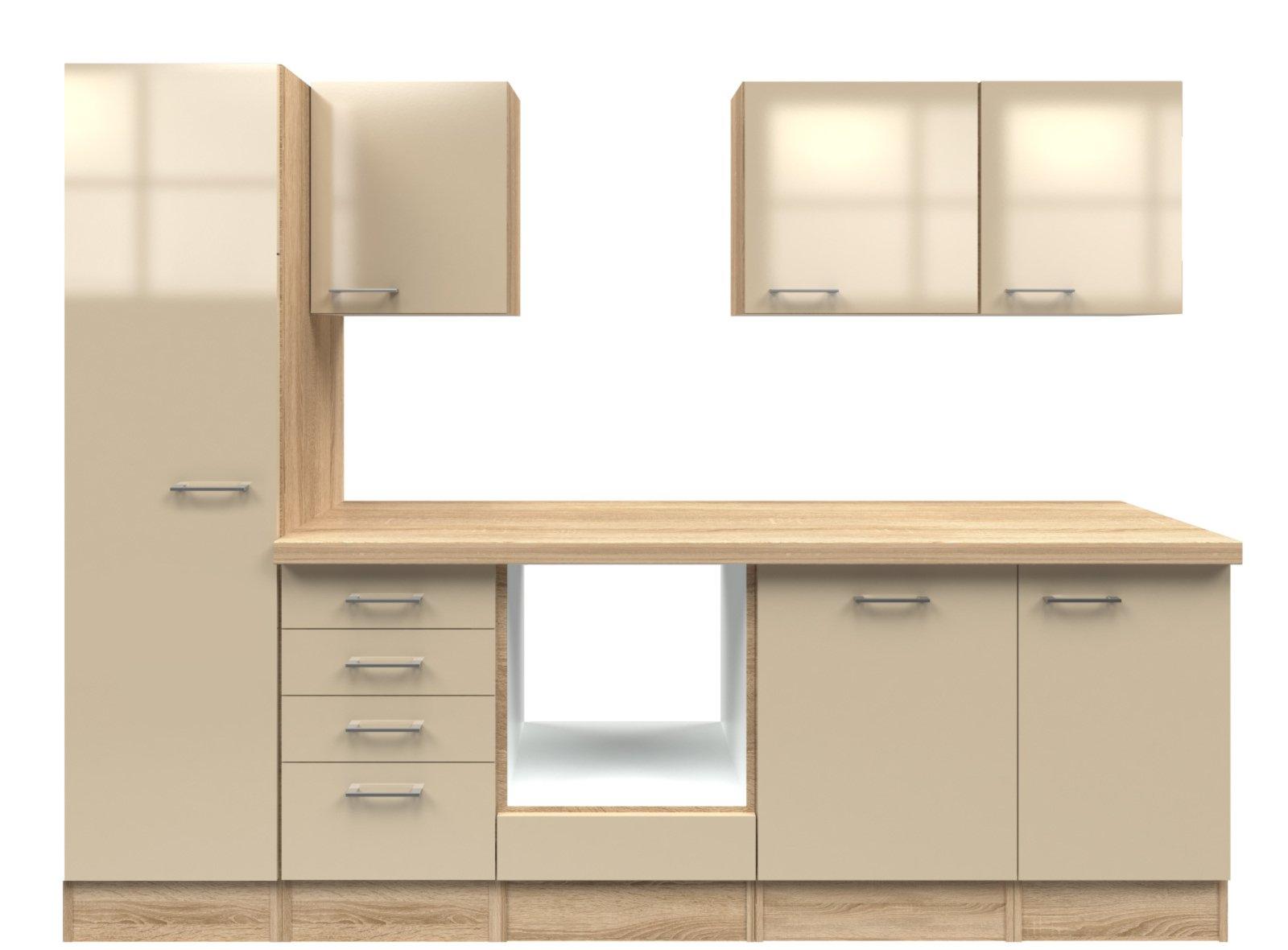 k chenblock nepal kaschmir glanz sonoma eiche 270 cm. Black Bedroom Furniture Sets. Home Design Ideas