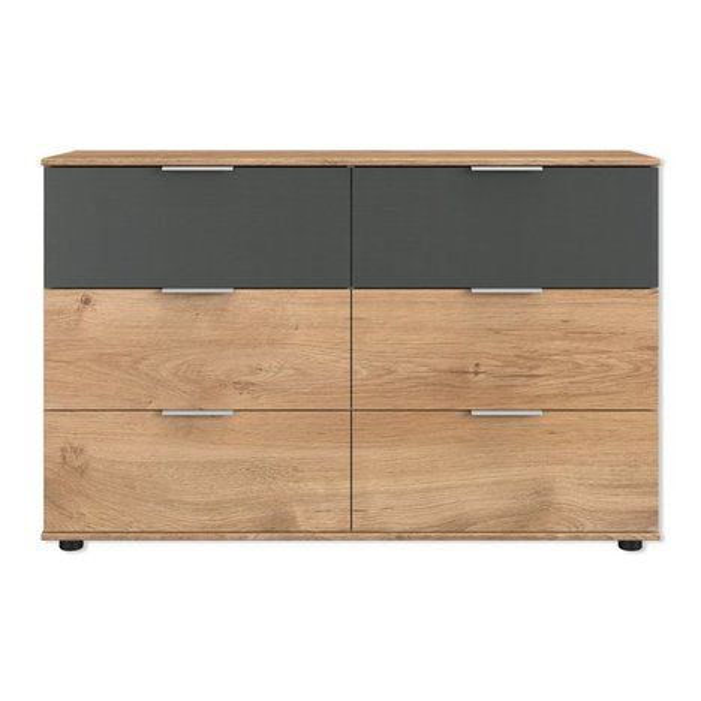 schubkastenkommode valencia plankeneiche graphit 130 cm lang kommoden sideboards. Black Bedroom Furniture Sets. Home Design Ideas