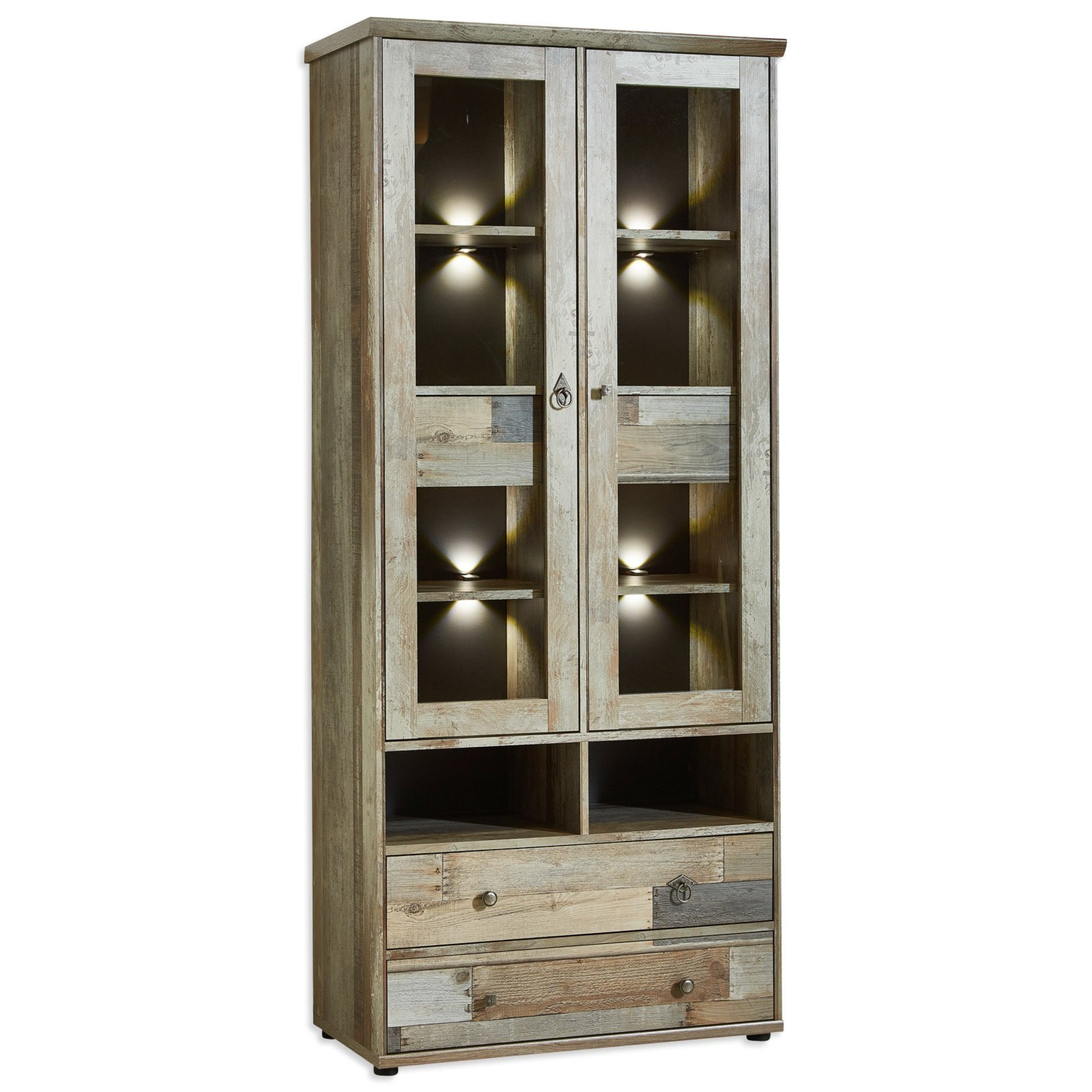 vitrine bonanza driftwood mit led beleuchtung. Black Bedroom Furniture Sets. Home Design Ideas