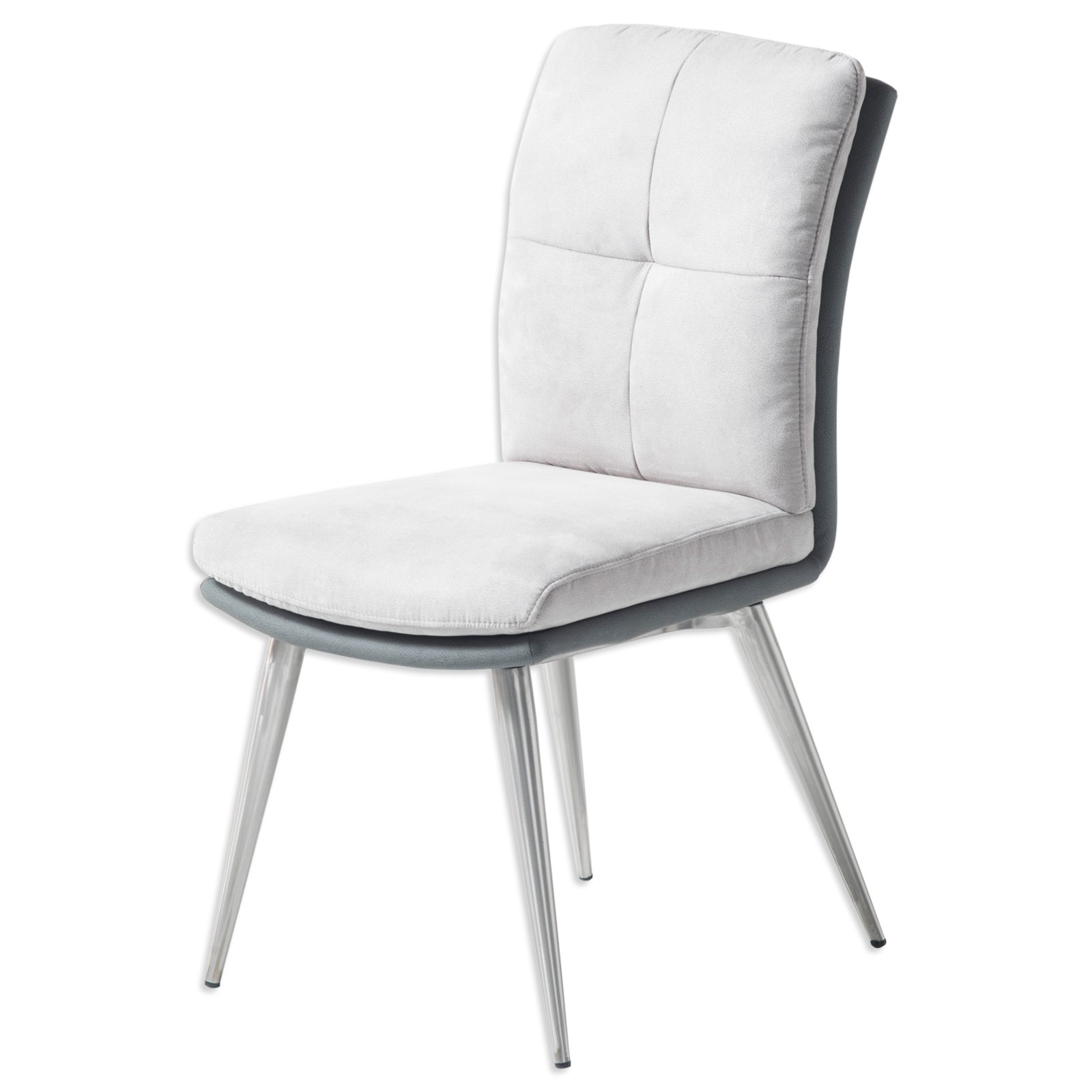 polsterstuhl emily grau microfaser edelstahl. Black Bedroom Furniture Sets. Home Design Ideas