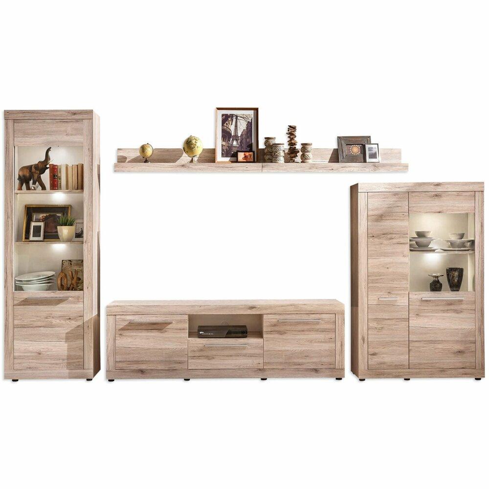 wohnwand passat san remo eiche sand wohnw nde m bel roller m belhaus. Black Bedroom Furniture Sets. Home Design Ideas