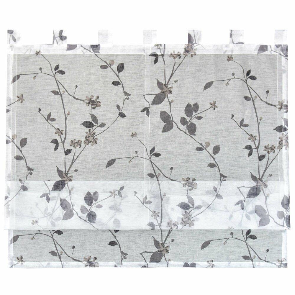 raffrollo roma wei grau mit blumen 100x140 cm. Black Bedroom Furniture Sets. Home Design Ideas