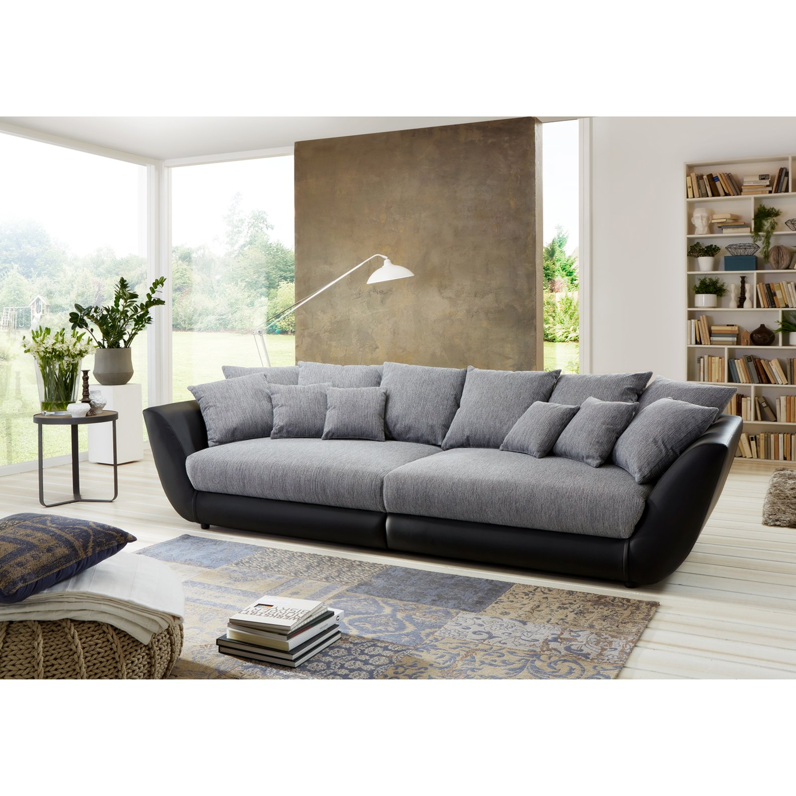 big sofa schwarz grau federkern mit 12 kissen ebay. Black Bedroom Furniture Sets. Home Design Ideas