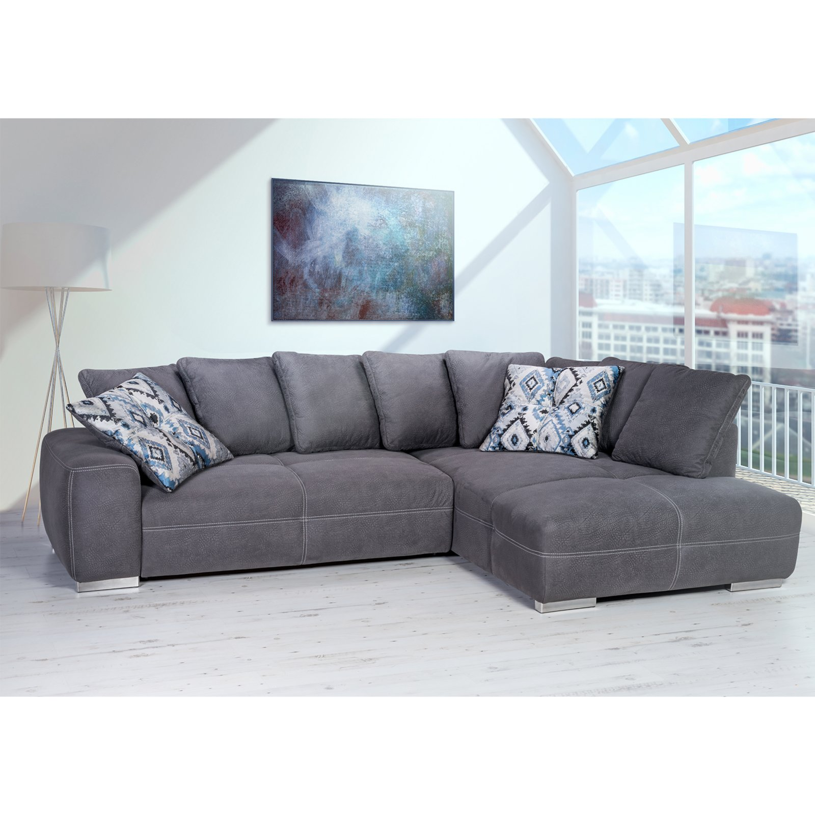 ecksofa grau mit liegefunktion ebay. Black Bedroom Furniture Sets. Home Design Ideas