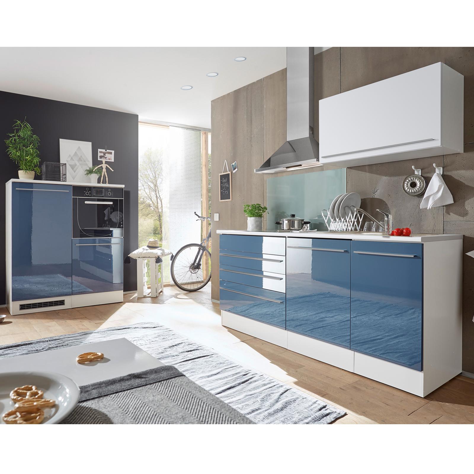 Küchenblock - blau Hochglanz-weiß matt - 320 cm