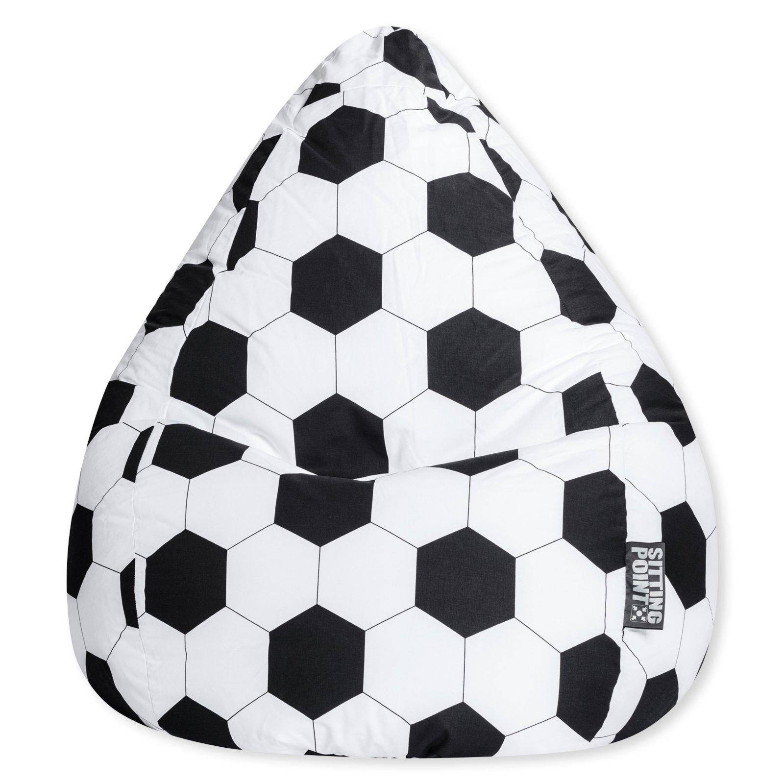 sitzsack fussball schwarz wei 90x70 cm sitzs cke kinder jugendzimmer wohnbereiche. Black Bedroom Furniture Sets. Home Design Ideas