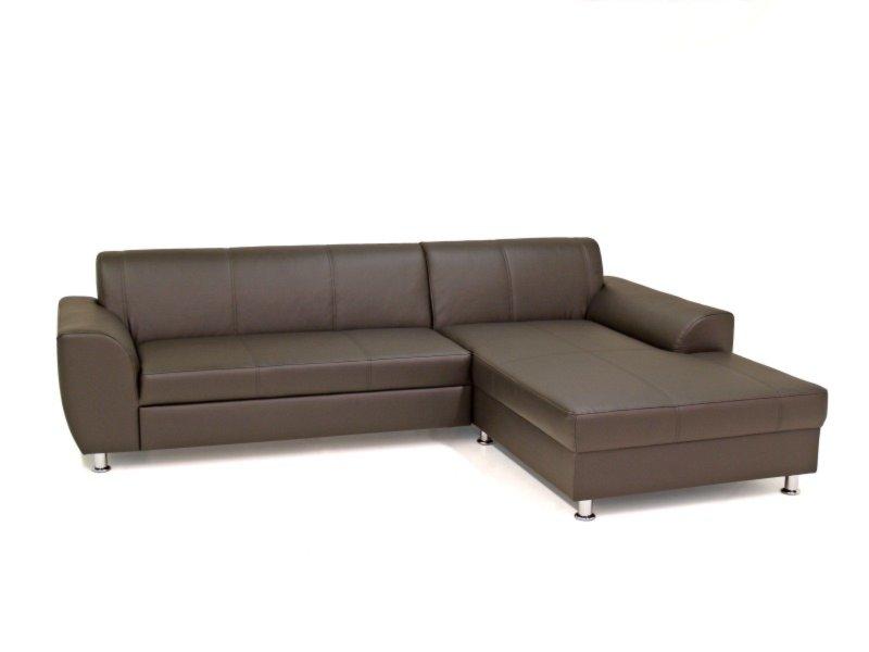 ecksofa dunkelbraun kunstleder recamiere rechts ecksofas l form sofas couches. Black Bedroom Furniture Sets. Home Design Ideas