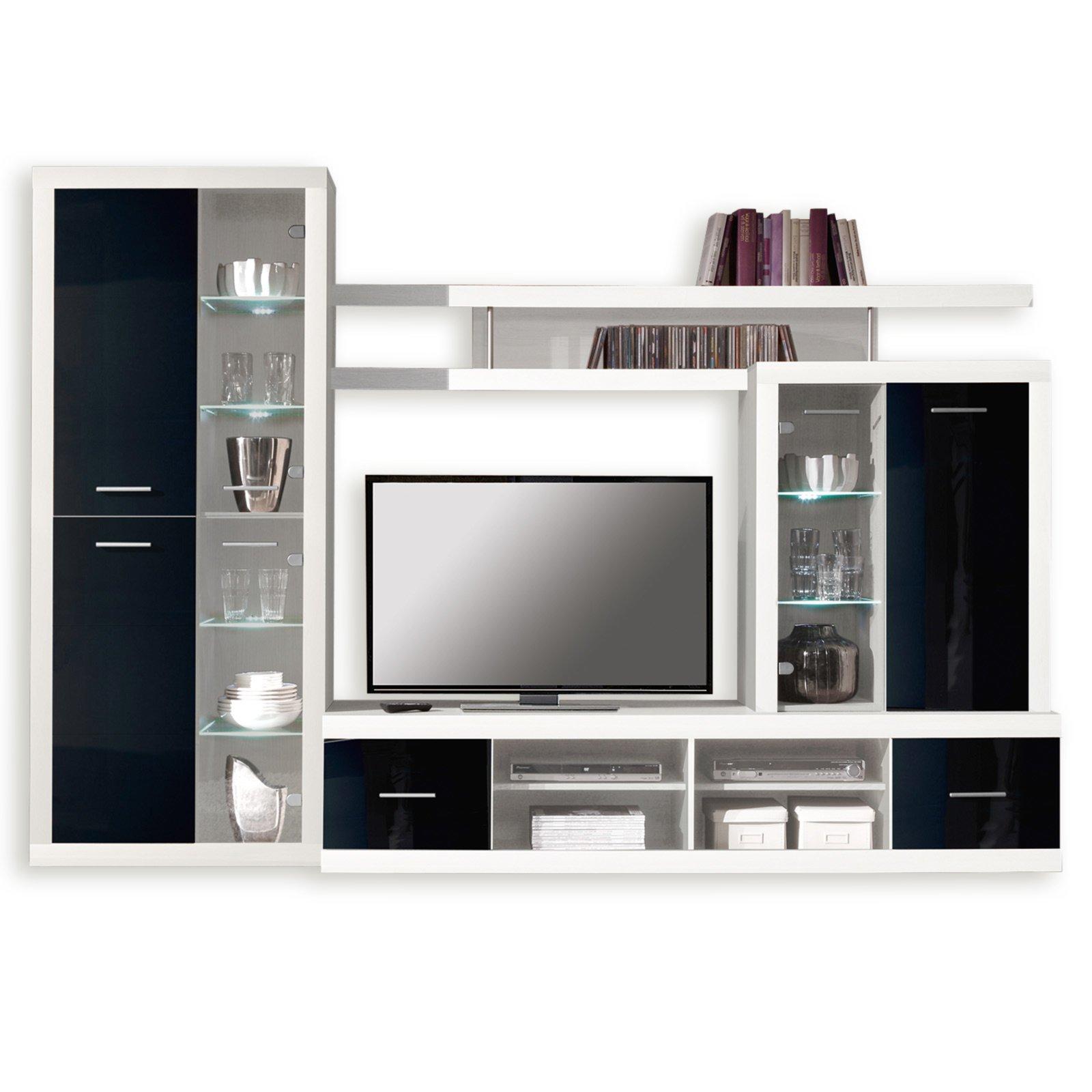 Wohnwand CAN CAN 4 LUX   Weiß Schwarz   Glasfronten