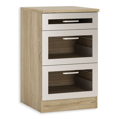 unterschrank fox alu sonoma eiche ausz ge 50 cm breit unterschr nke einzelschr nke. Black Bedroom Furniture Sets. Home Design Ideas