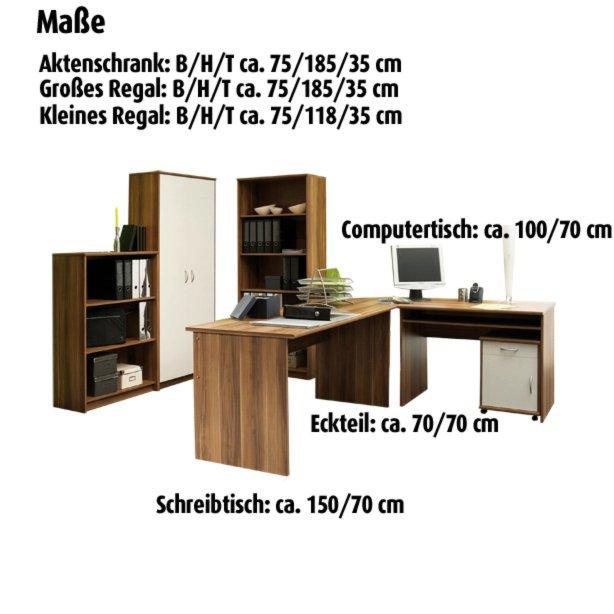 Büromöbel-Set OFFICE COMPACT - Walnuss-weiß | Büro- & Aktenschränke ...