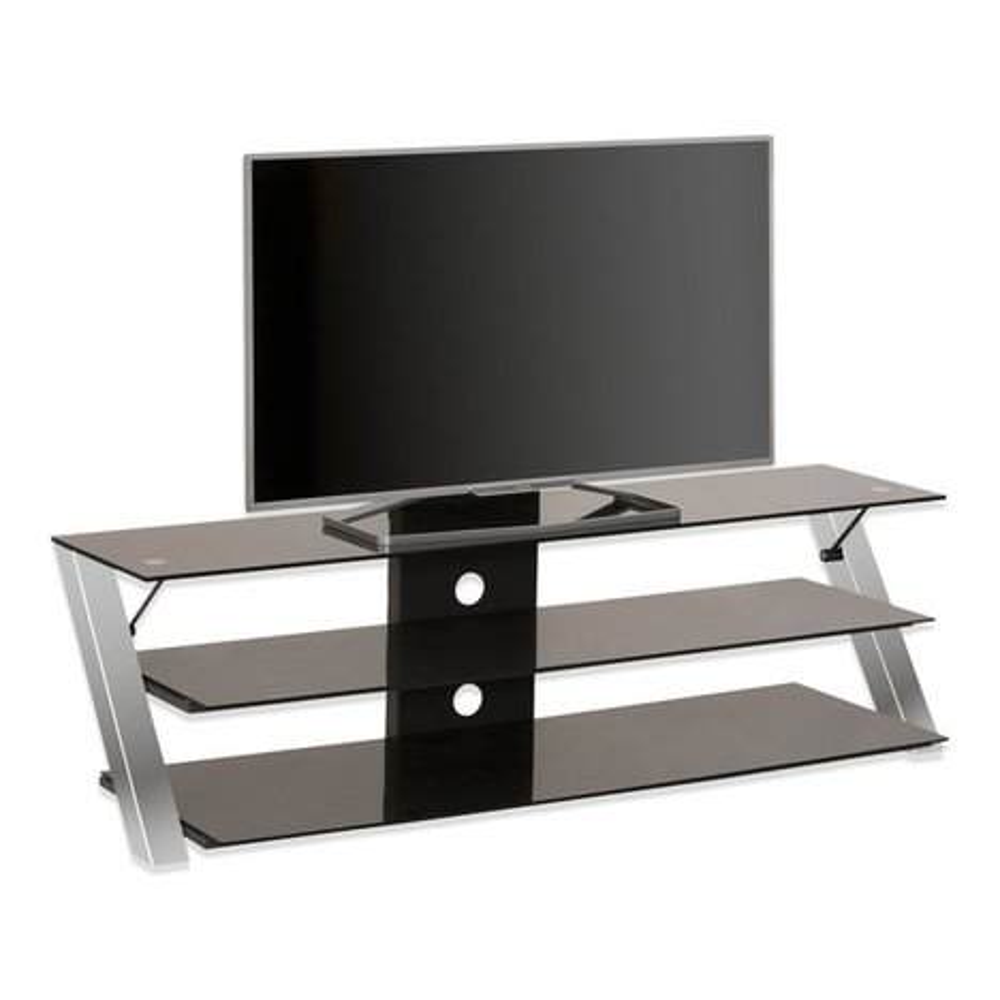 tv rack metall chrom schwarzglas 3 ablageb den tv. Black Bedroom Furniture Sets. Home Design Ideas