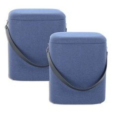 2er-Set Hocker ARABELLA 225 - blau-schwarz - ineinander stapelbar