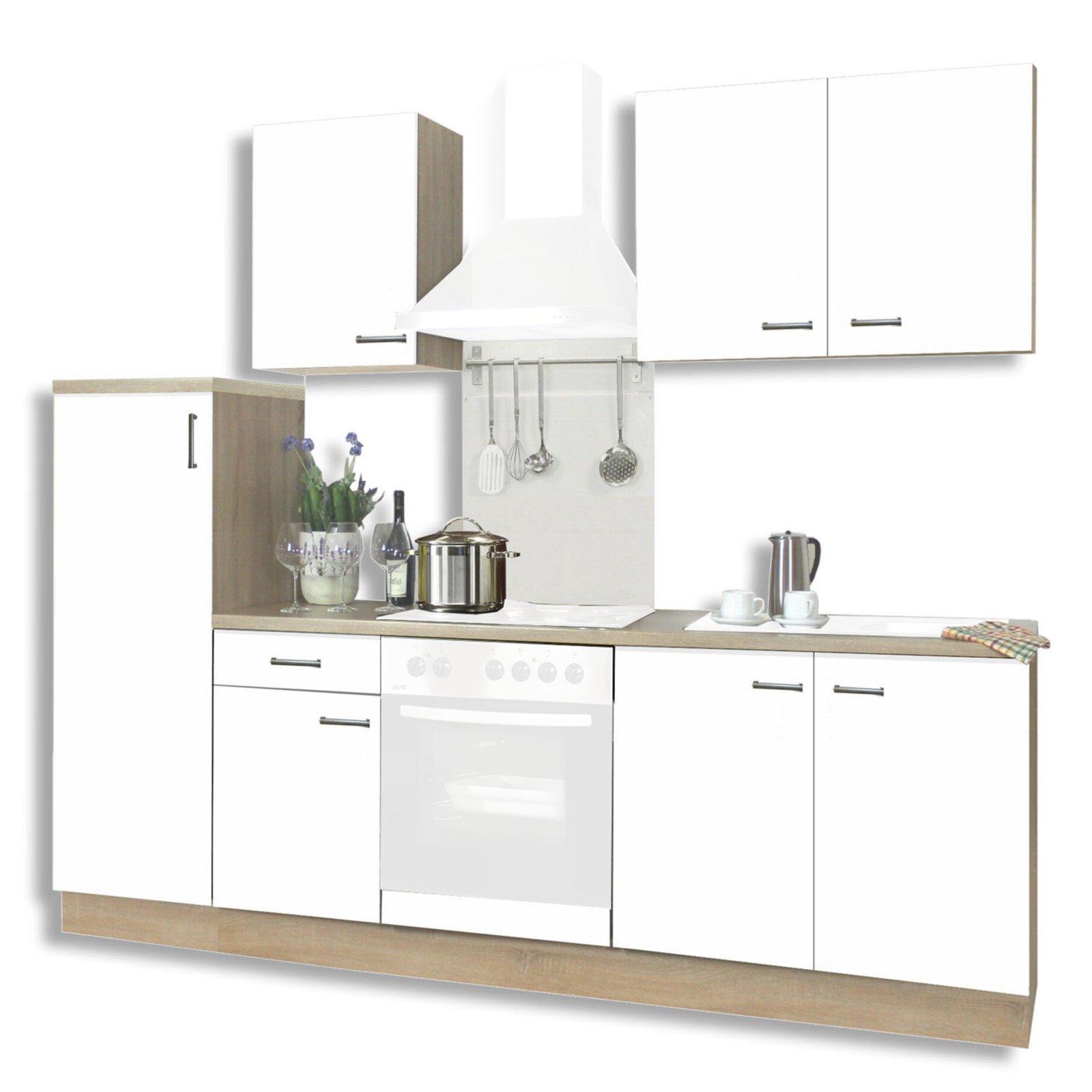 Küchenblock BIGGI - matt weiß-Sonoma Eiche - 270 cm | Küchenzeilen ...