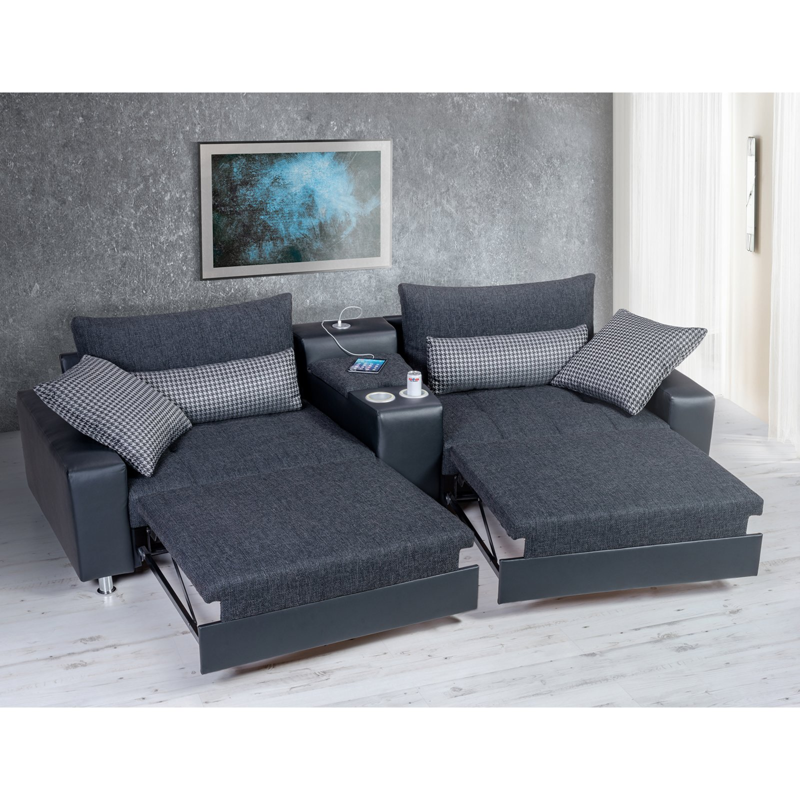 roller 2 sitzer heimkino sofa schwarz mit funktionen. Black Bedroom Furniture Sets. Home Design Ideas