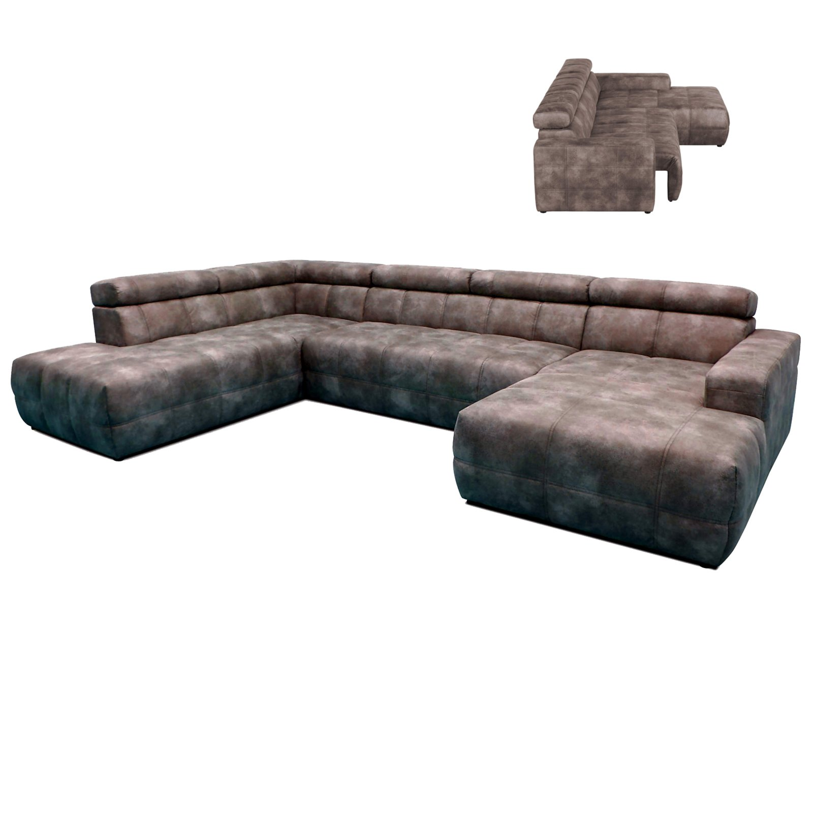 Wohnlandschaft - grau - ausziehbarer Sitz - Recamiere rechts ...