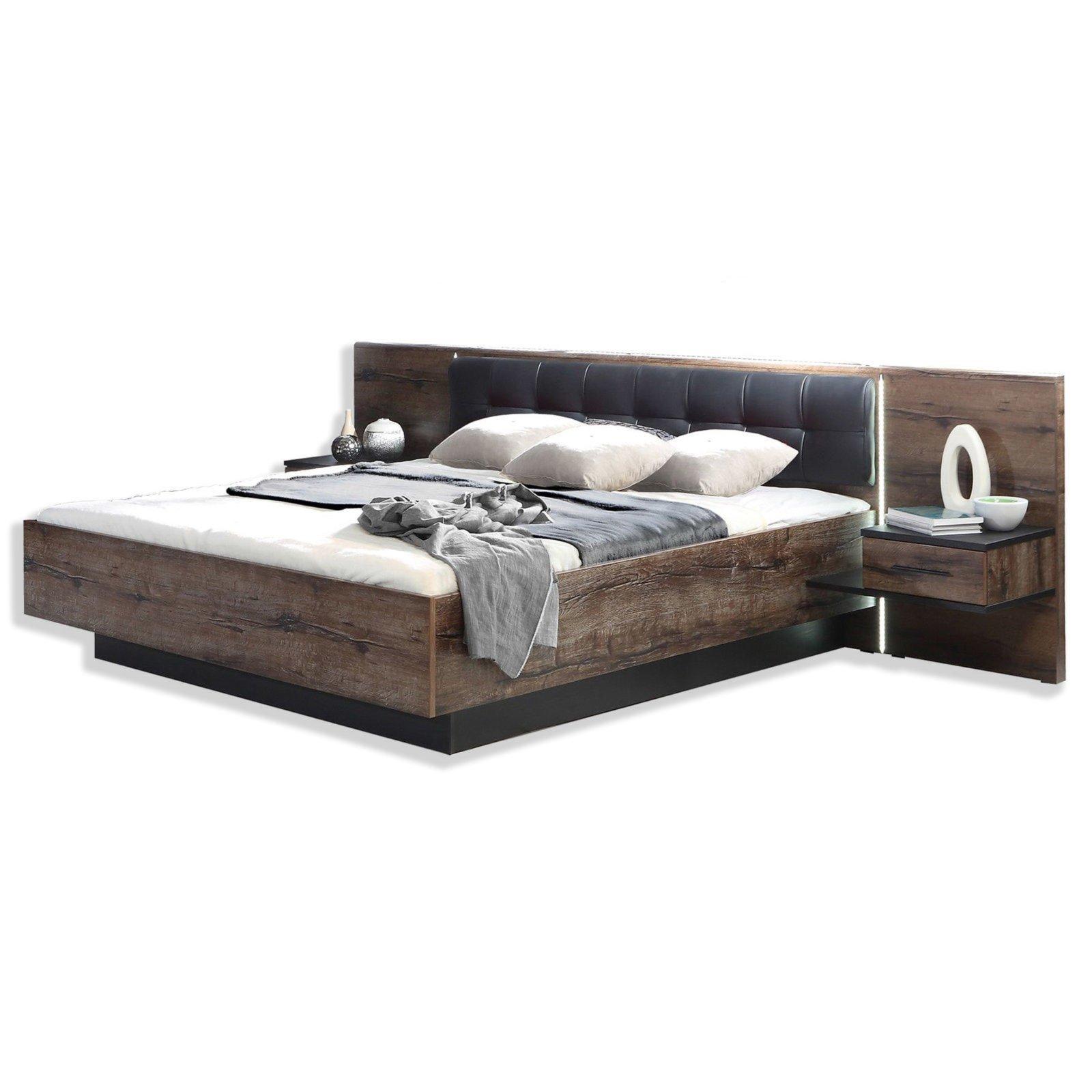 bettanlage bellevue eiche schwarz 180x200 cm bettgestelle betten m bel roller. Black Bedroom Furniture Sets. Home Design Ideas