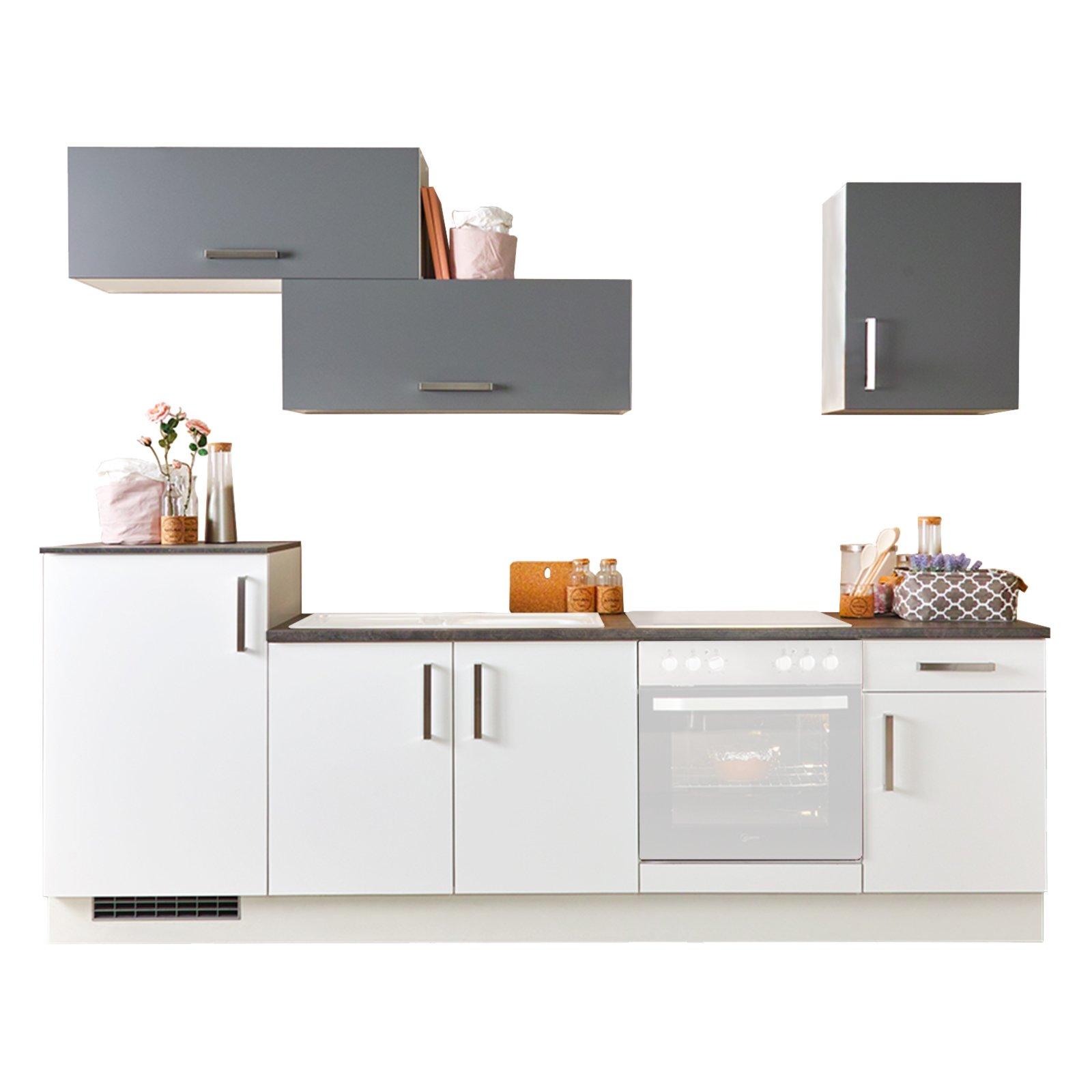 k chenblock mia lacklaminat wei schiefergrau 270 cm k chenzeilen ohne e ger te. Black Bedroom Furniture Sets. Home Design Ideas