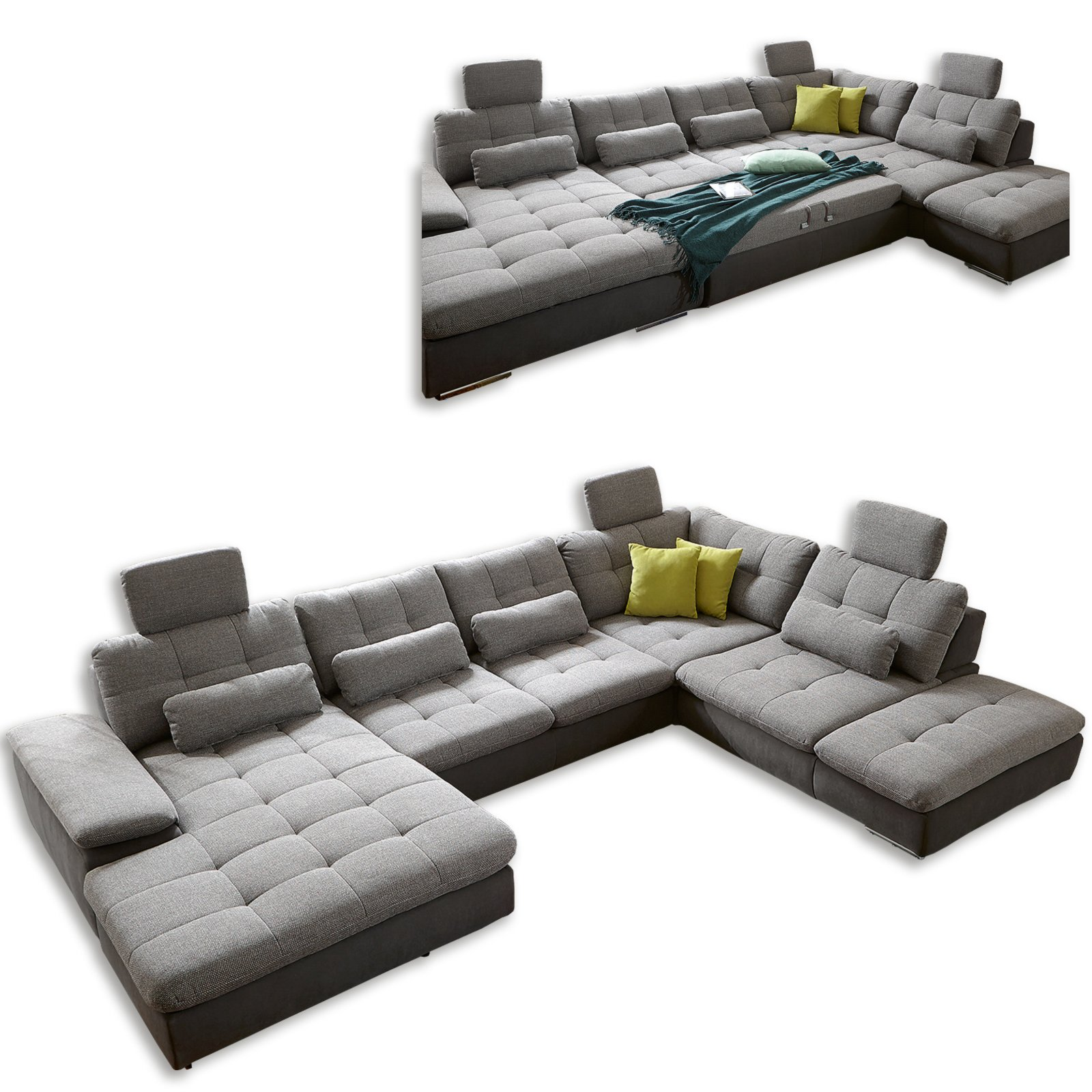 wohnlandschaft silber anthrazit liegefunktion wohnlandschaften u form sofas couches. Black Bedroom Furniture Sets. Home Design Ideas