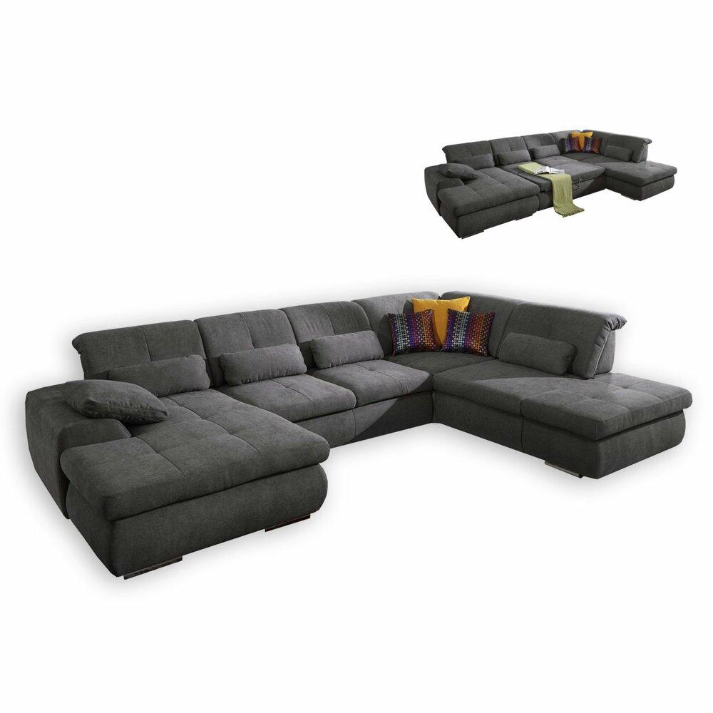 wohnlandschaft anthrazit mit liegefunktion wohnlandschaften u form sofas couches. Black Bedroom Furniture Sets. Home Design Ideas