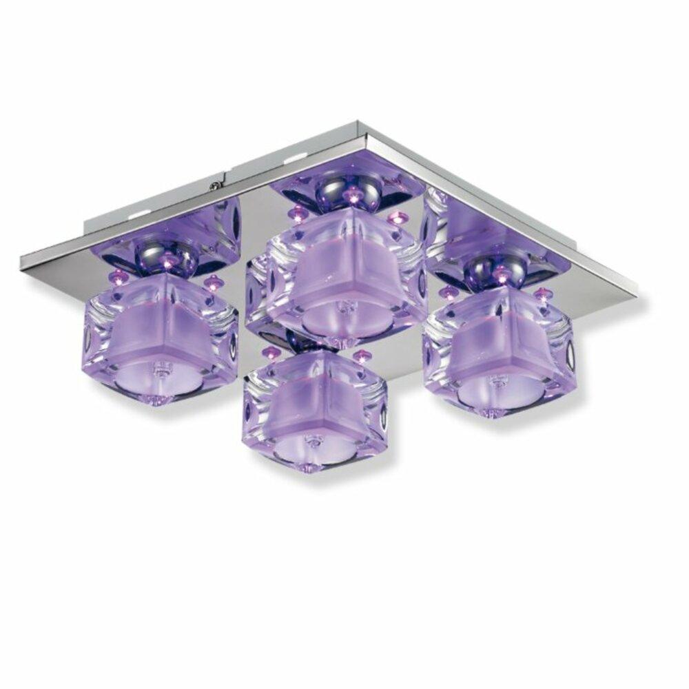 LED-Deckenleuchte Lila - Metall Chrom - Glas Deckenleuchten Lampen ...