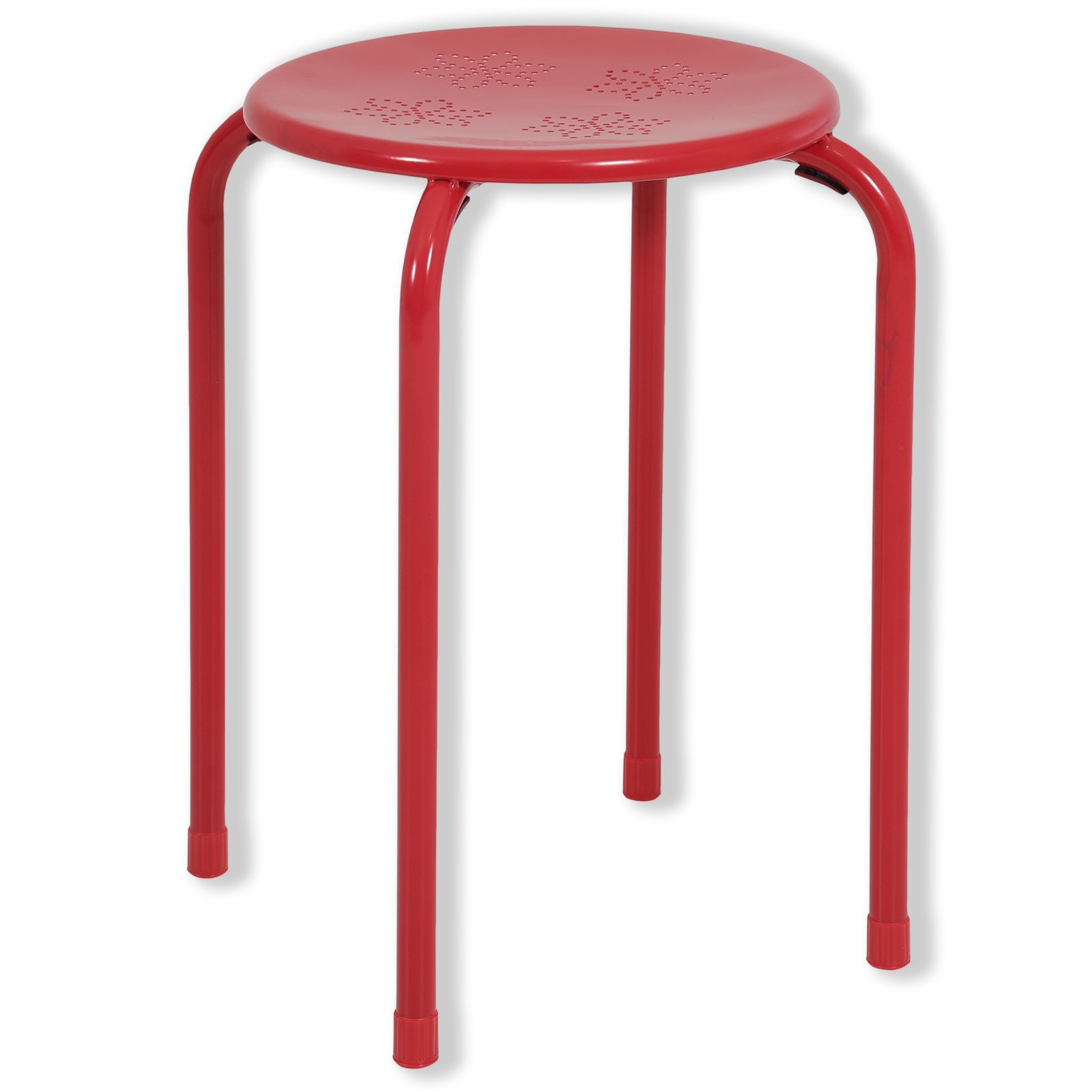 Hocker SAMMY - rot - Metall-pulverbeschichtet