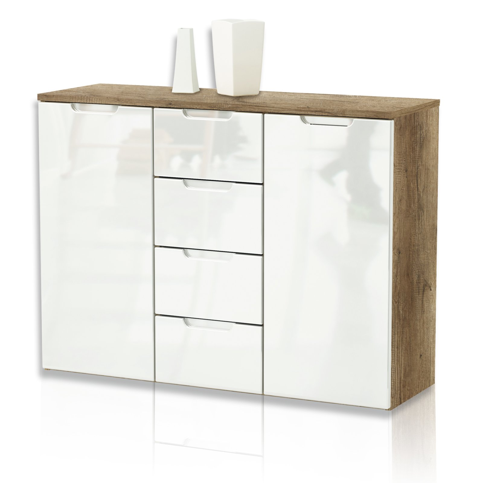kommode clio eiche antik wei 106 cm kommoden. Black Bedroom Furniture Sets. Home Design Ideas