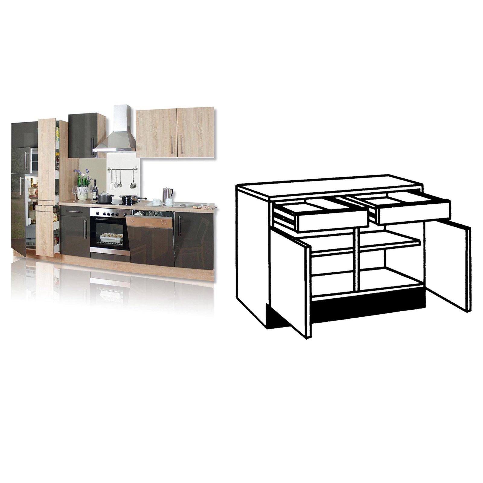 roller anrichte jana lava sonoma eiche 100 cm ebay. Black Bedroom Furniture Sets. Home Design Ideas