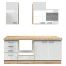 Küchenblock VALERO   Weiß Hochglanz Sonoma Eiche   210 Cm