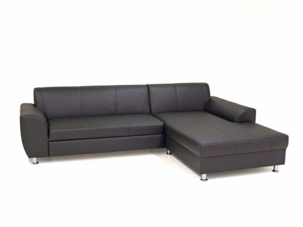 ecksofa schwarz kunstleder recamiere rechts ecksofas l form sofas couches m bel. Black Bedroom Furniture Sets. Home Design Ideas