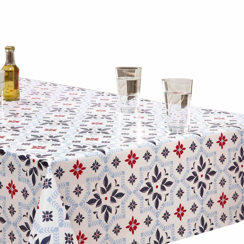 tischdecke wei blau rot fliesen 140 cm breit tischdecken tischl ufer heimtextilien. Black Bedroom Furniture Sets. Home Design Ideas