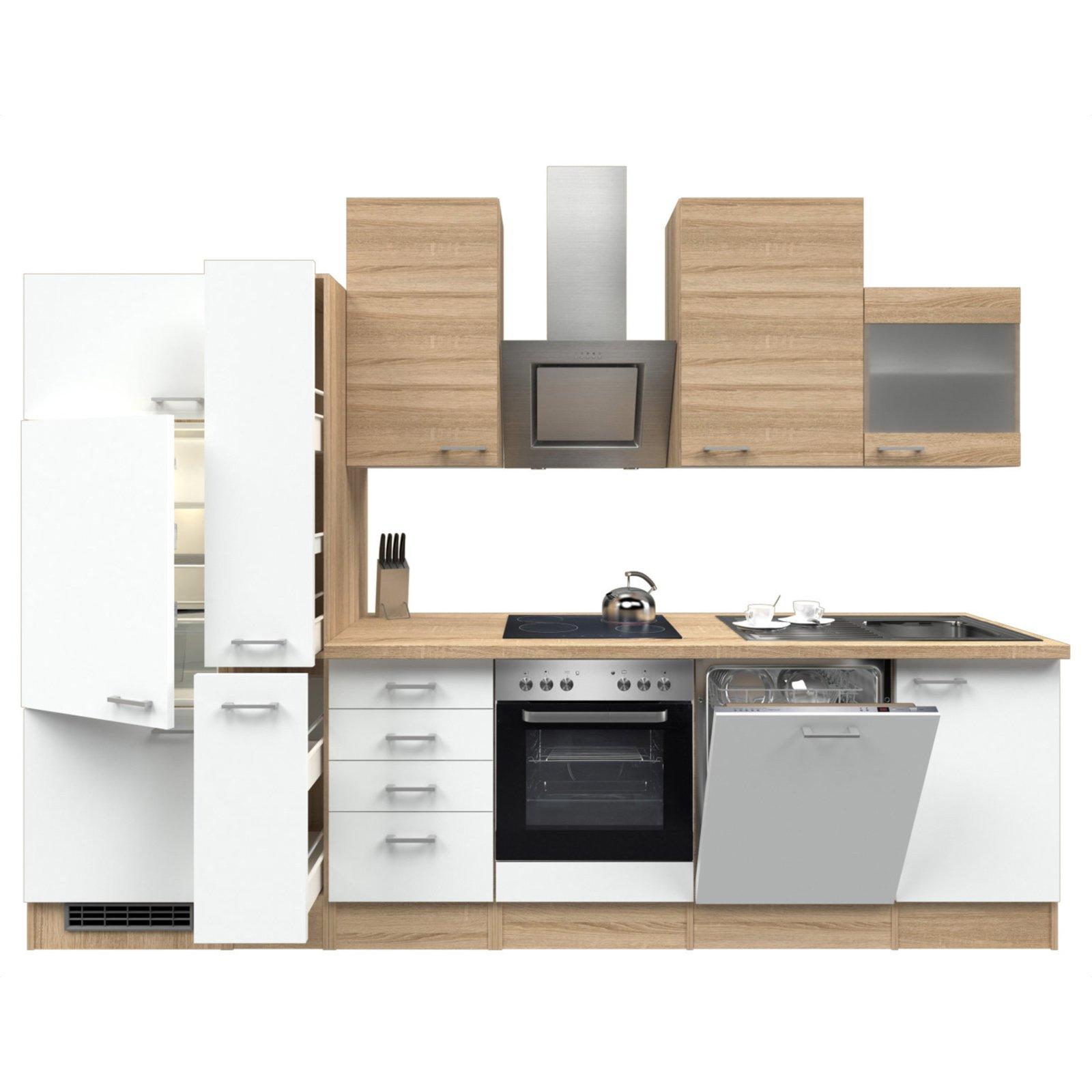 k chenblock samoa wei sonoma eiche mit e ger ten 310 cm k chenzeilen mit e ger ten. Black Bedroom Furniture Sets. Home Design Ideas