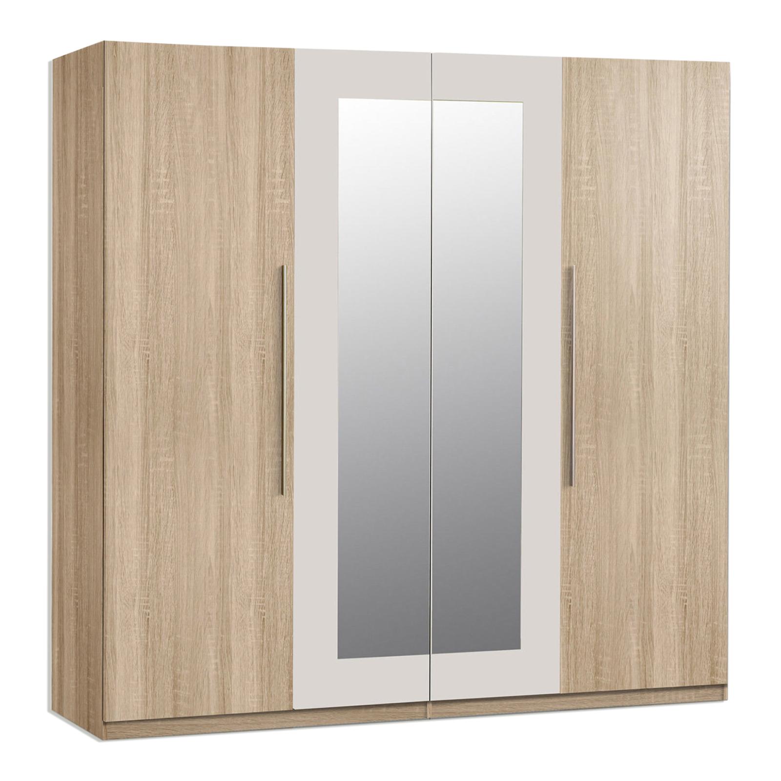 Kleiderschrank Eiche Sonoma Spiegel 228 Cm Online Bei