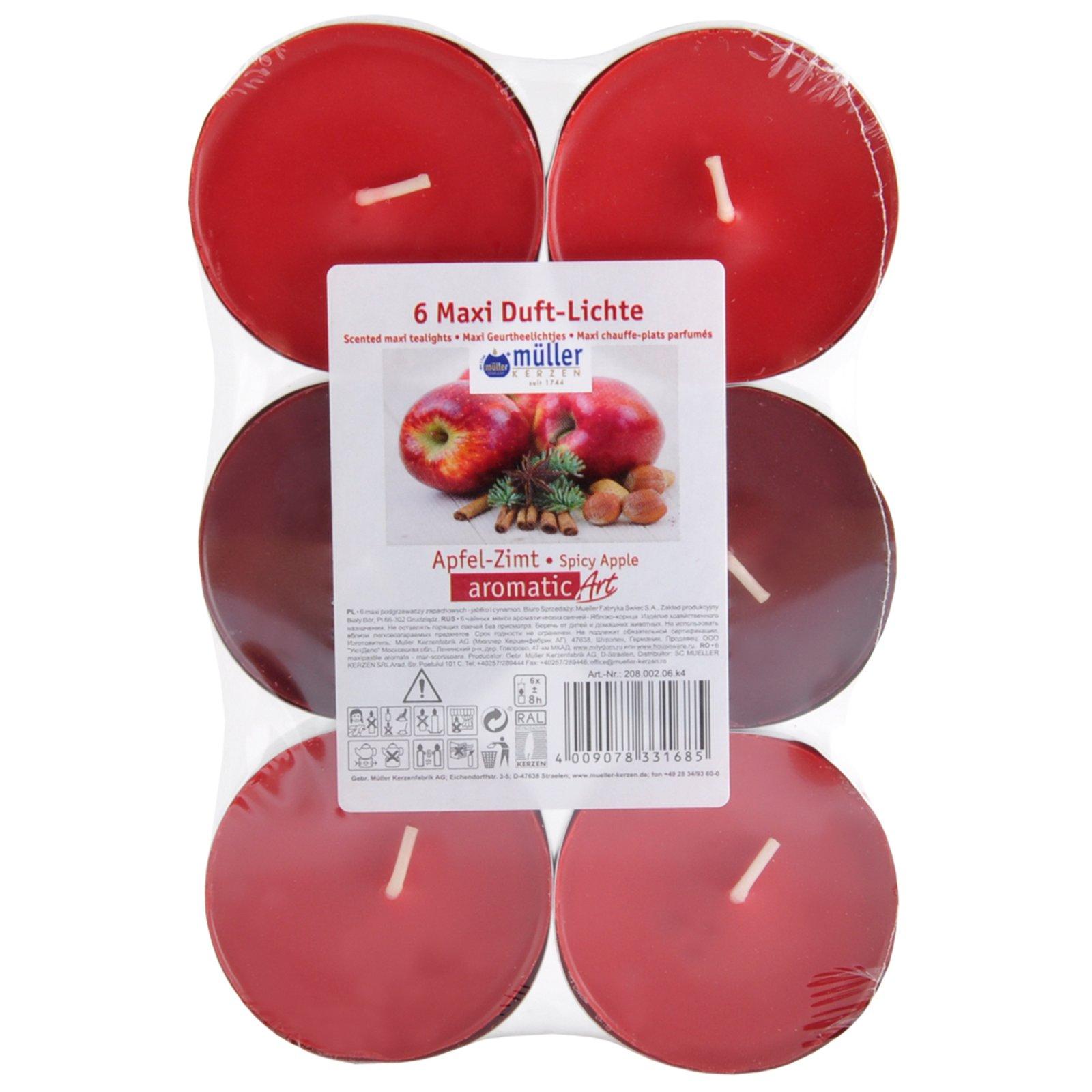 6 Maxi Duft-Teelichter - rot - Apfel-Zimt