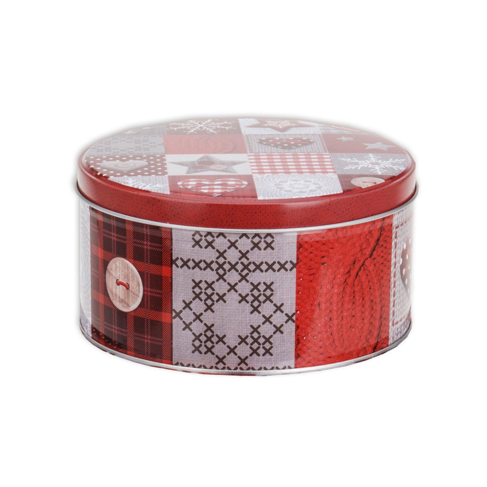 Gebäckdose - rot-grau - rund - Ø 13,8 cm