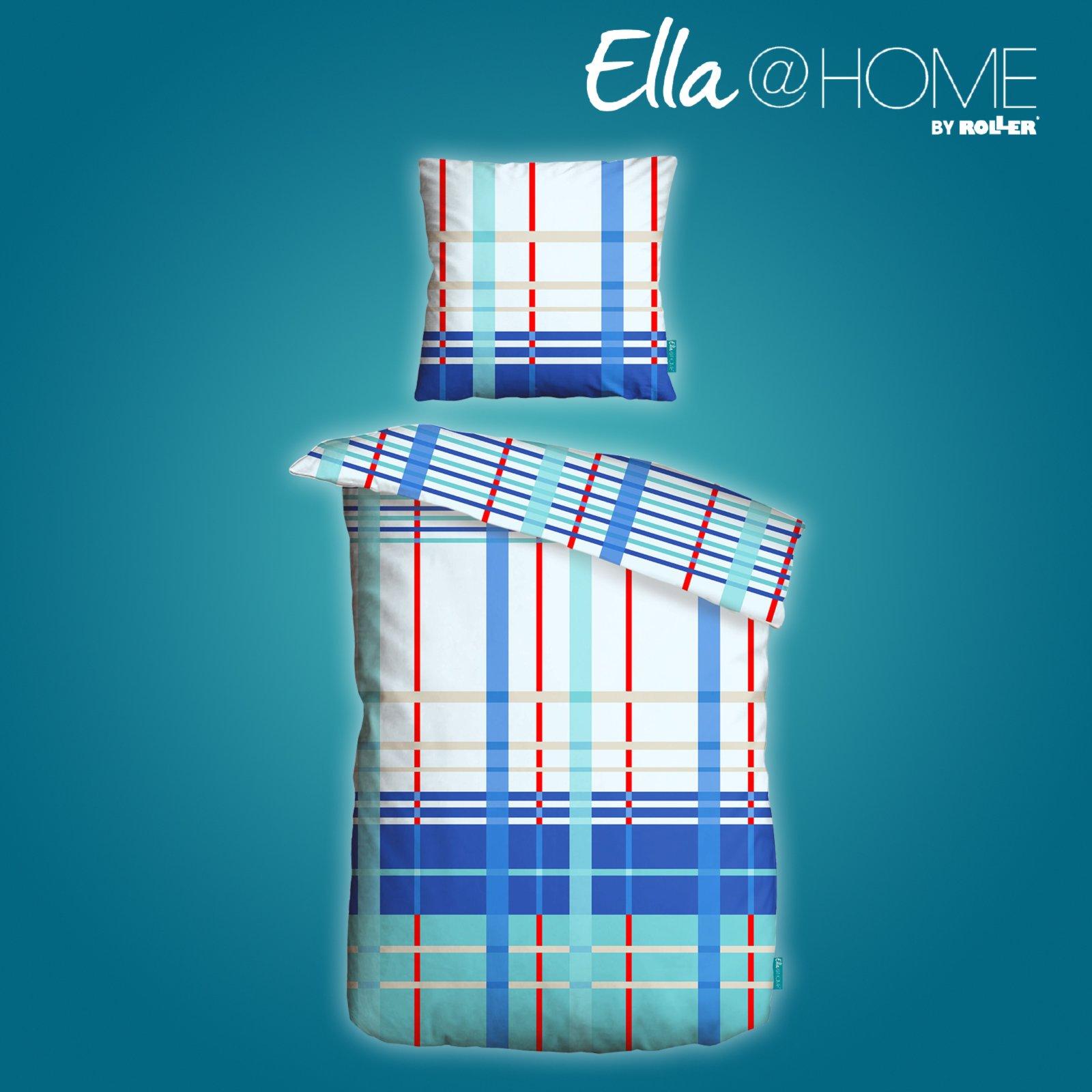 microfaser bettw sche blau rot 135x200 cm ella home. Black Bedroom Furniture Sets. Home Design Ideas