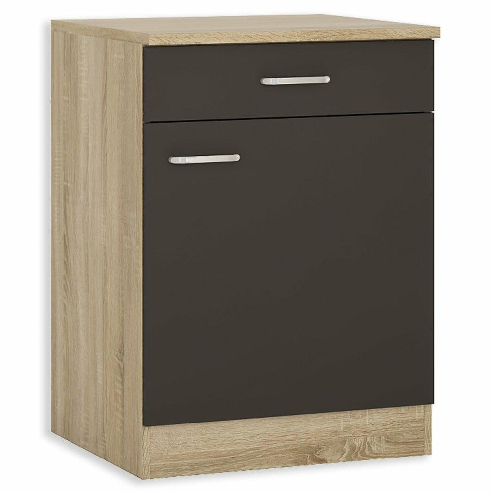 unterschrank fox anthrazit sonoma eiche 60 cm breit k che fox schrankserien. Black Bedroom Furniture Sets. Home Design Ideas